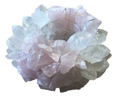 Quartz Rose Quartz candle holder