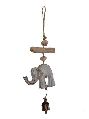 Carved Elephant Driftwood Nana Bell Wind Chime 15