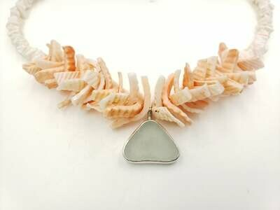 Pale Seafoam Lake Erie Beach Glass Bezel with Vintage Shell Necklace