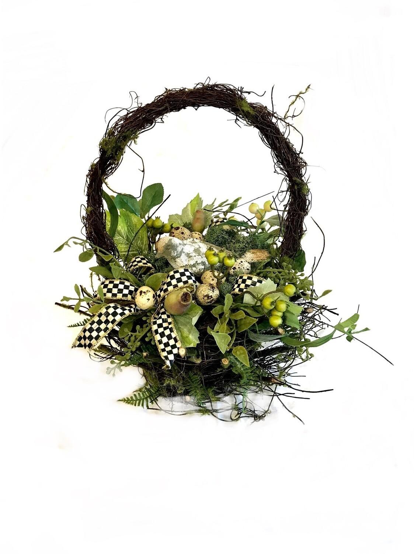Mossy twig basket large bird floral