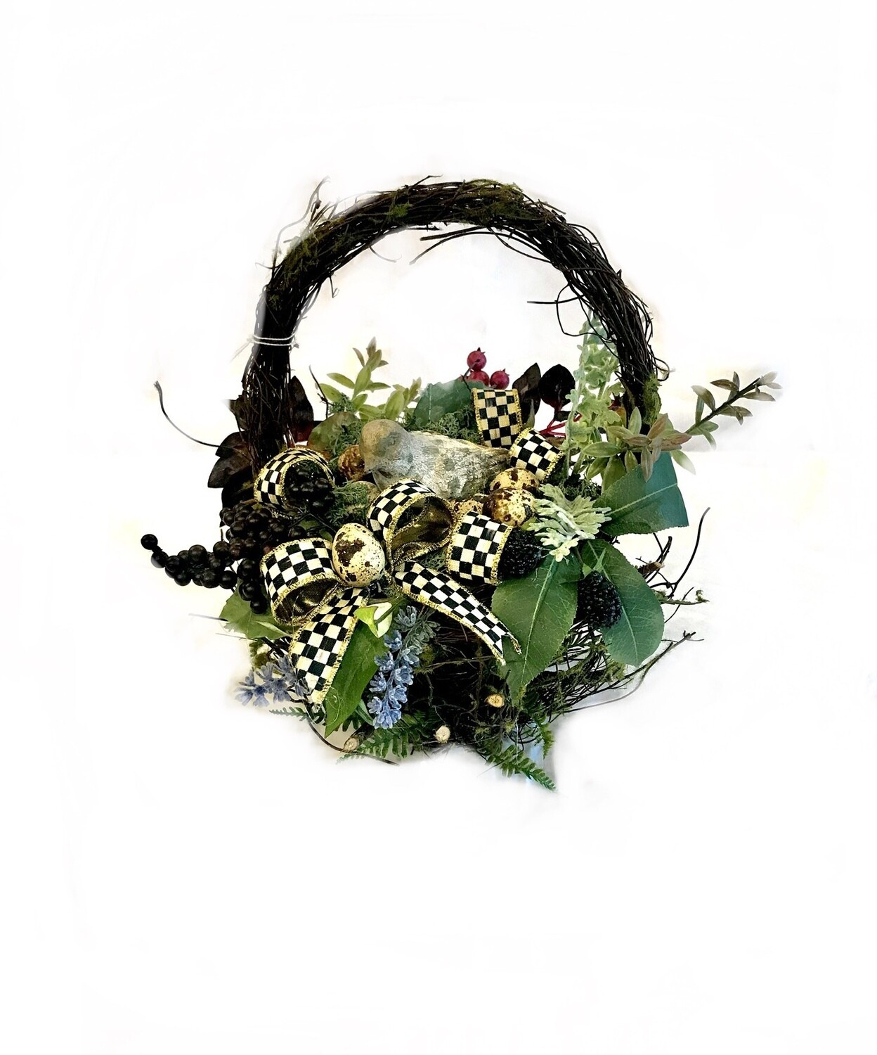 Mossy twig basket small bird floral