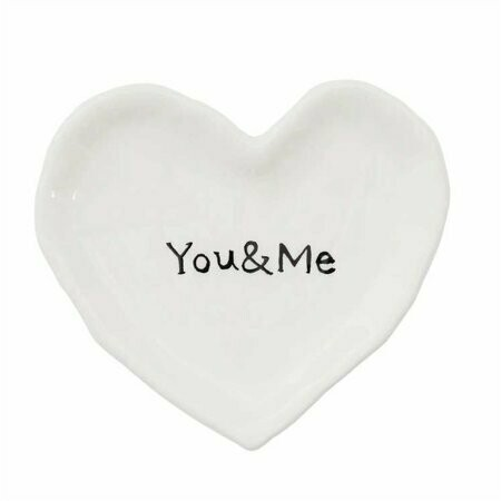 Ceramic heart dish you and me