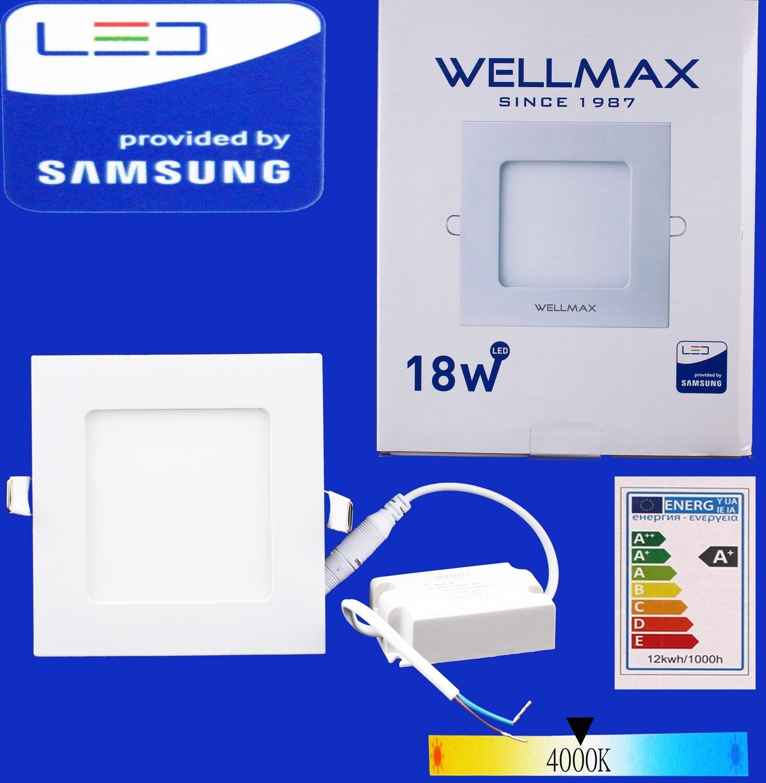 Էլ.պլաֆոն LED Wellmax քառակուսի 18W 4000K