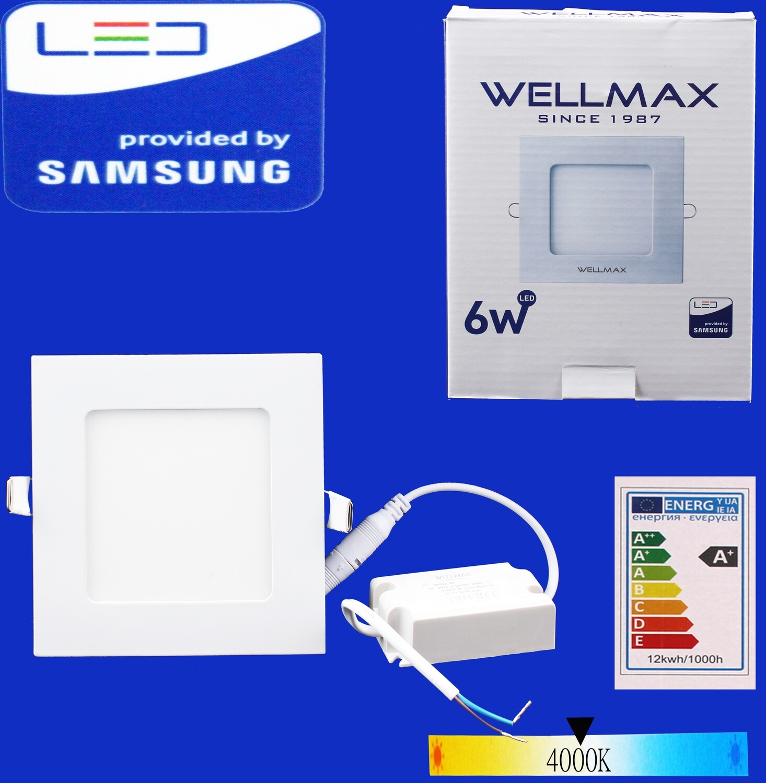 Էլ.պլաֆոն LED Wellmax քառակուսի 6W 4000K
