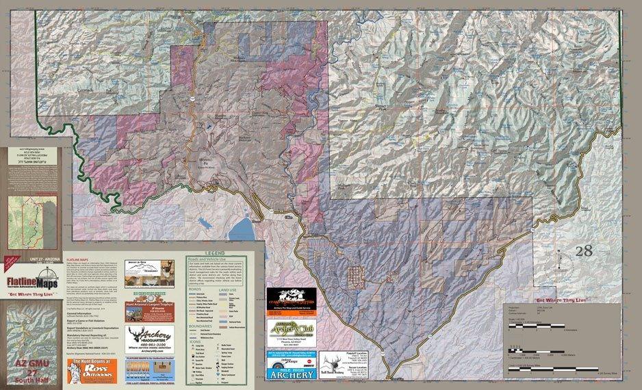 Map Of South Arizona.Arizona Flatline Hunt Unit 27 South Half Map