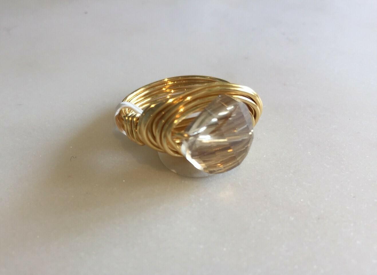 GR768 Champagne Swarovski Ring Small Flat Coin GF