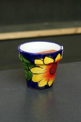 6.75in Sunflower Glazed Ceramic Flower Pot