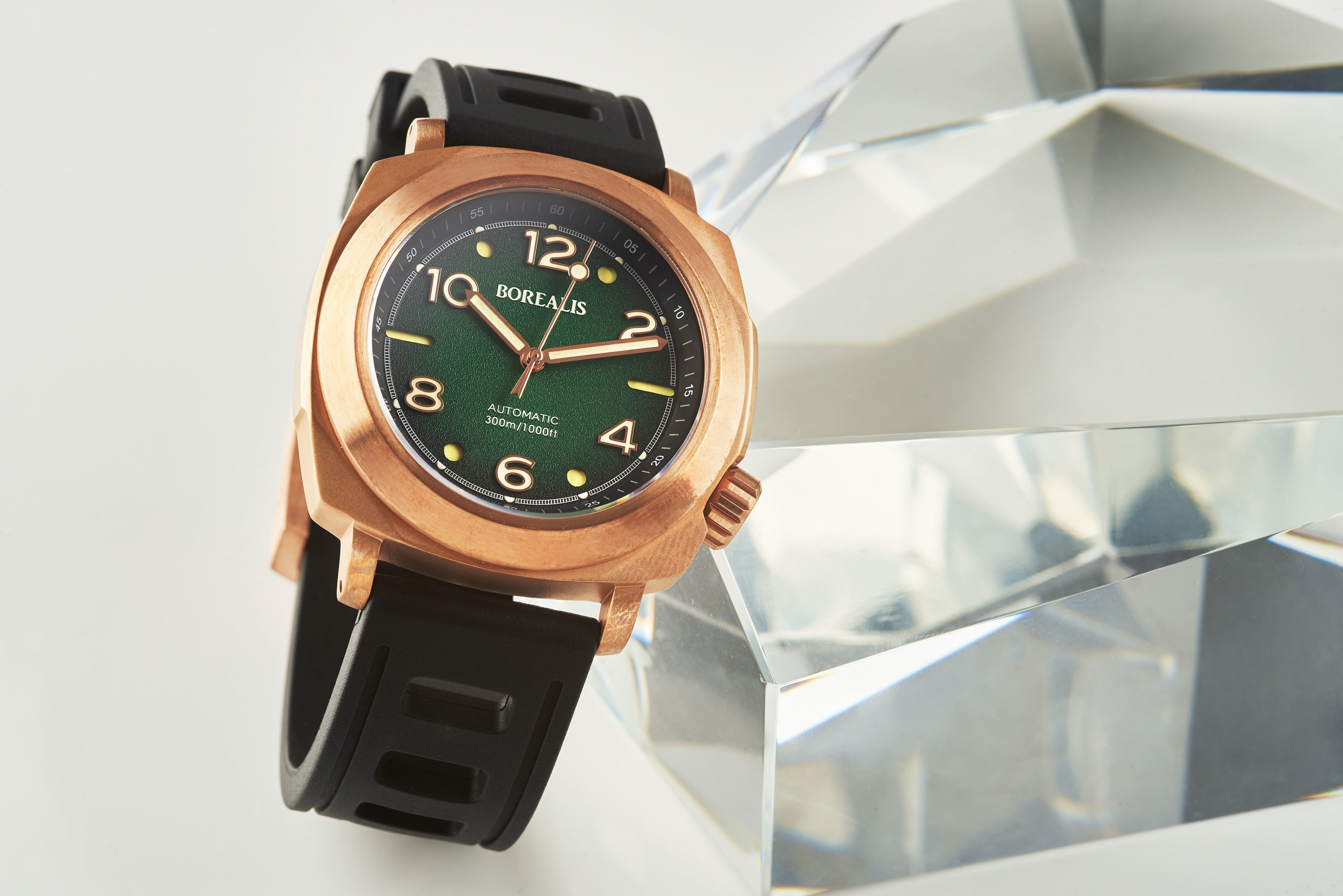 Borealis Navale CuSn8 Bronze 300m Diver Watch Miyota 9015 Fumed Green Version FF Fixed Bezel