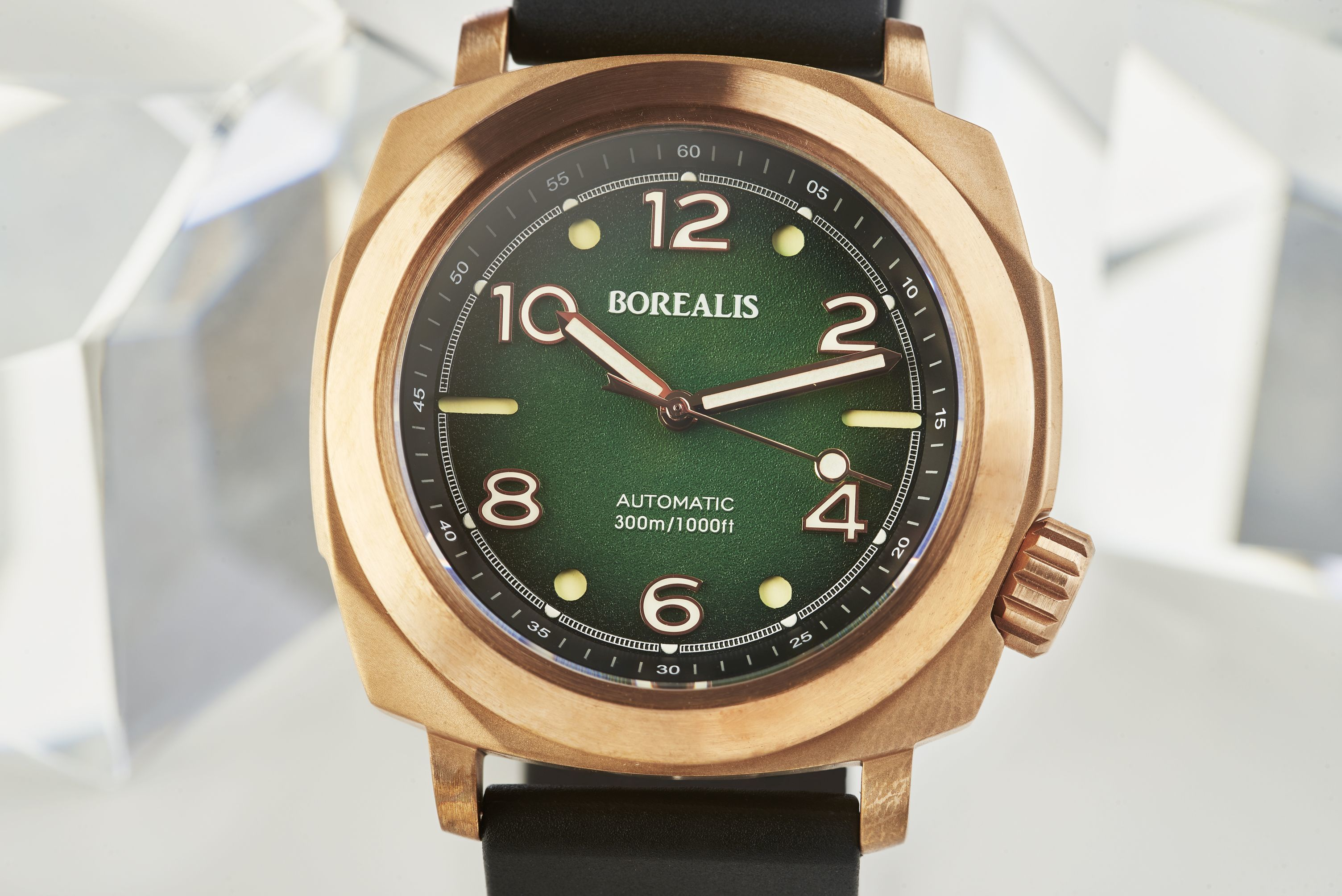 Borealis Navale CuSn8 Bronze 300m Diver Watch Miyota 9015 Fumed Green Version FF Fixed Bezel BNAVALEFFGREEN