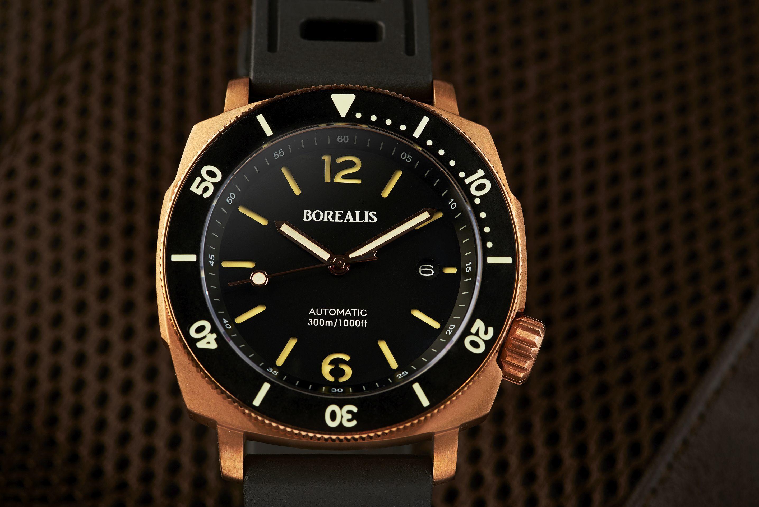 Borealis Navale CuSn8 Bronze 300m Diver Watch Miyota 9015 Black Dial Version AR Rotating Bezel BNAVALEARBLACK