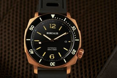Borealis Navale CuSn8 Bronze 300m Diver Watch Miyota 9015 Black Dial Version AR Rotating Bezel