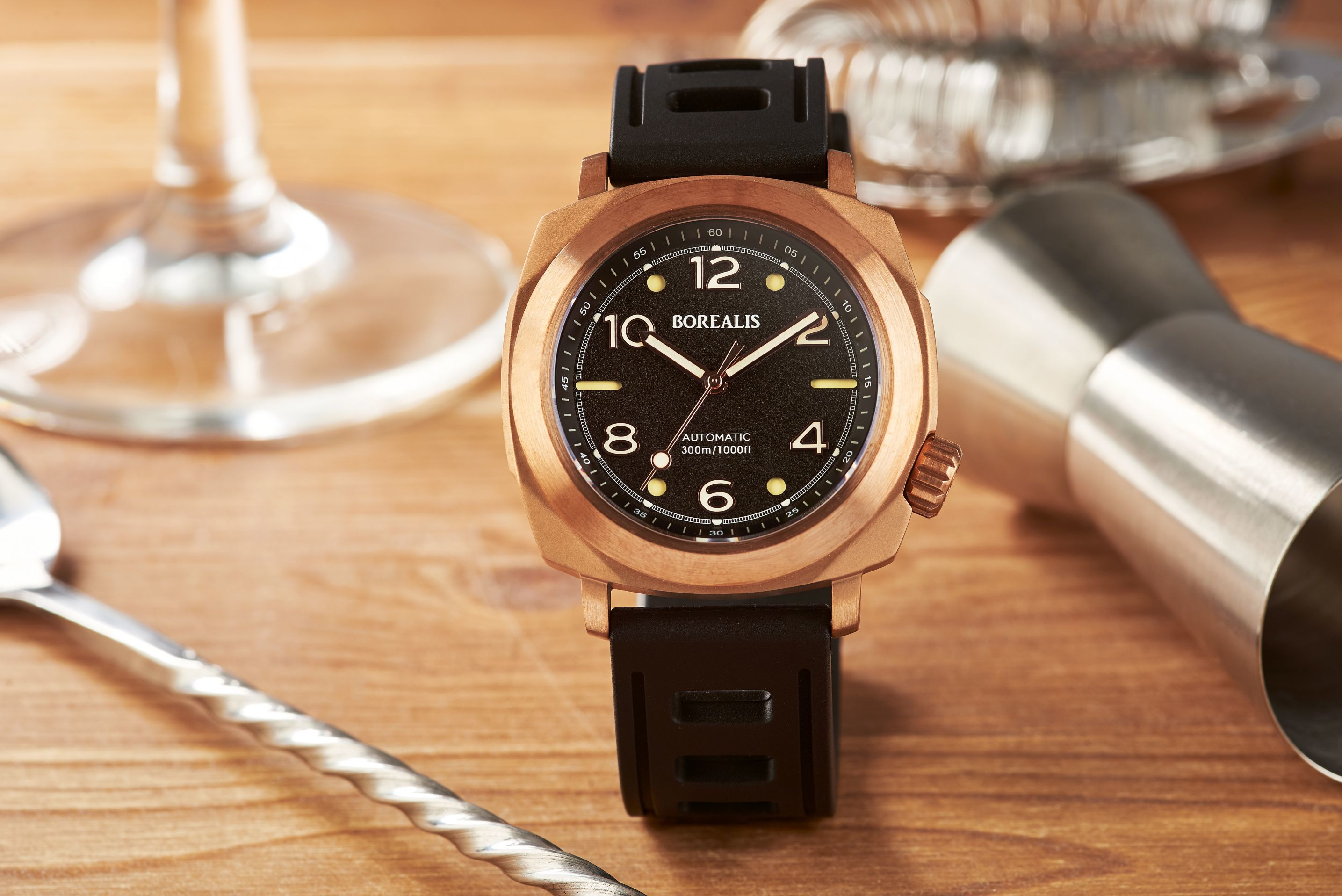 Borealis Navale CuSn8 Bronze 300m Diver Watch Miyota 9015 Black Version BF Fixed Bezel BNAVALEBFBLACK