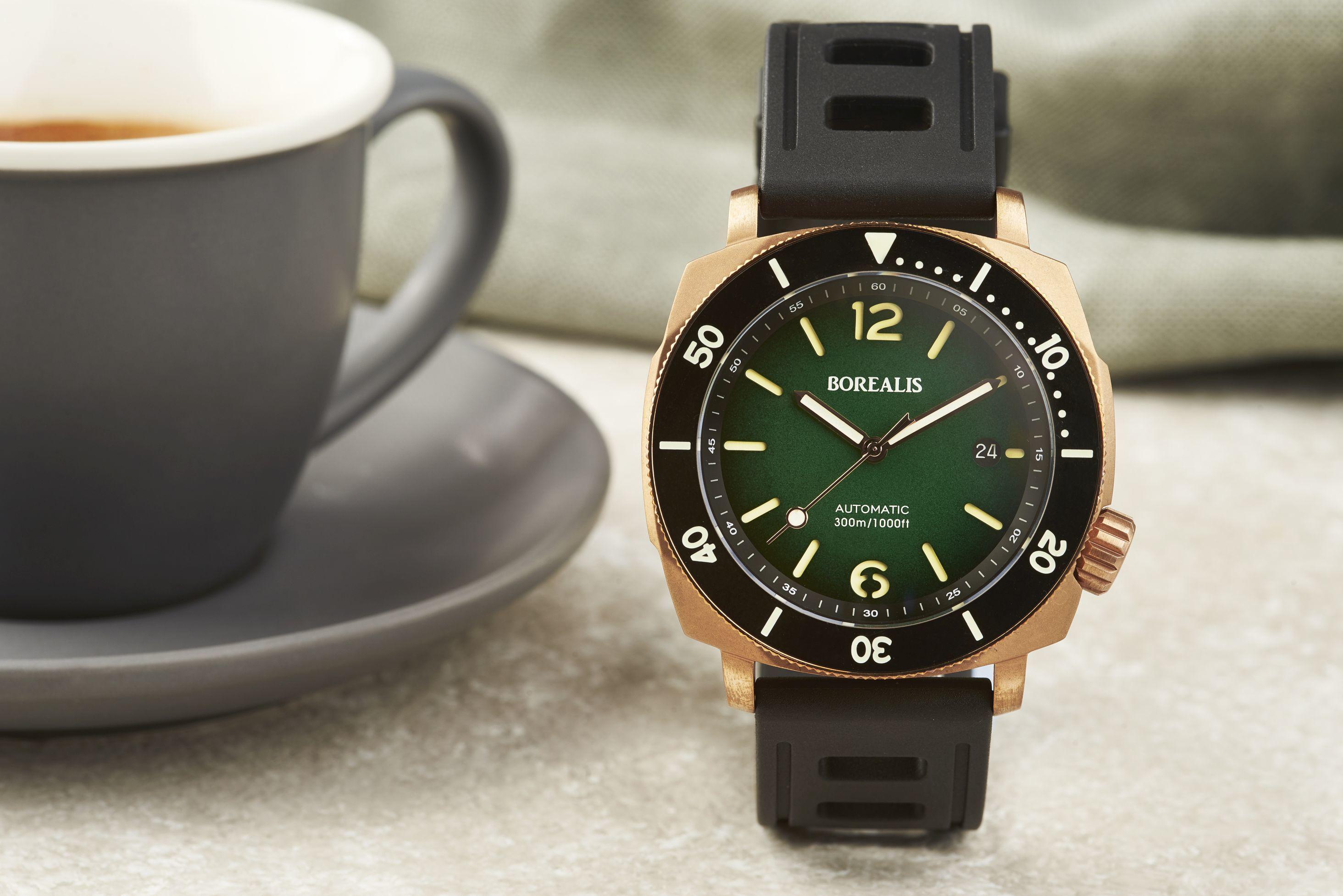 Borealis Navale CuSn8 Bronze 300m Diver Watch Miyota 9015 Green Fumed Dial Version ER Rotating Bezel
