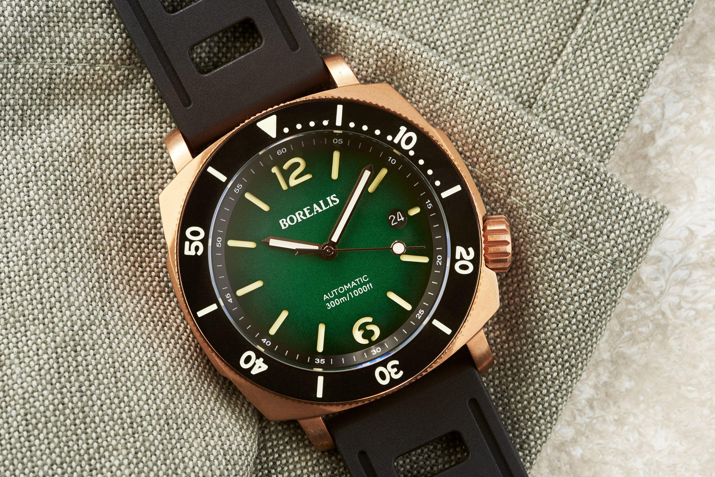 Borealis Navale CuSn8 Bronze 300m Diver Watch Miyota 9015 Green Fumed Dial Version ER Rotating Bezel BNAVALEERGREEN