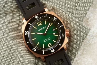 Borealis Navale CuSn8 Bronze 300m Diver Watch Miyota 9015 Green Fumed Dial Version ER Rotating Bezel