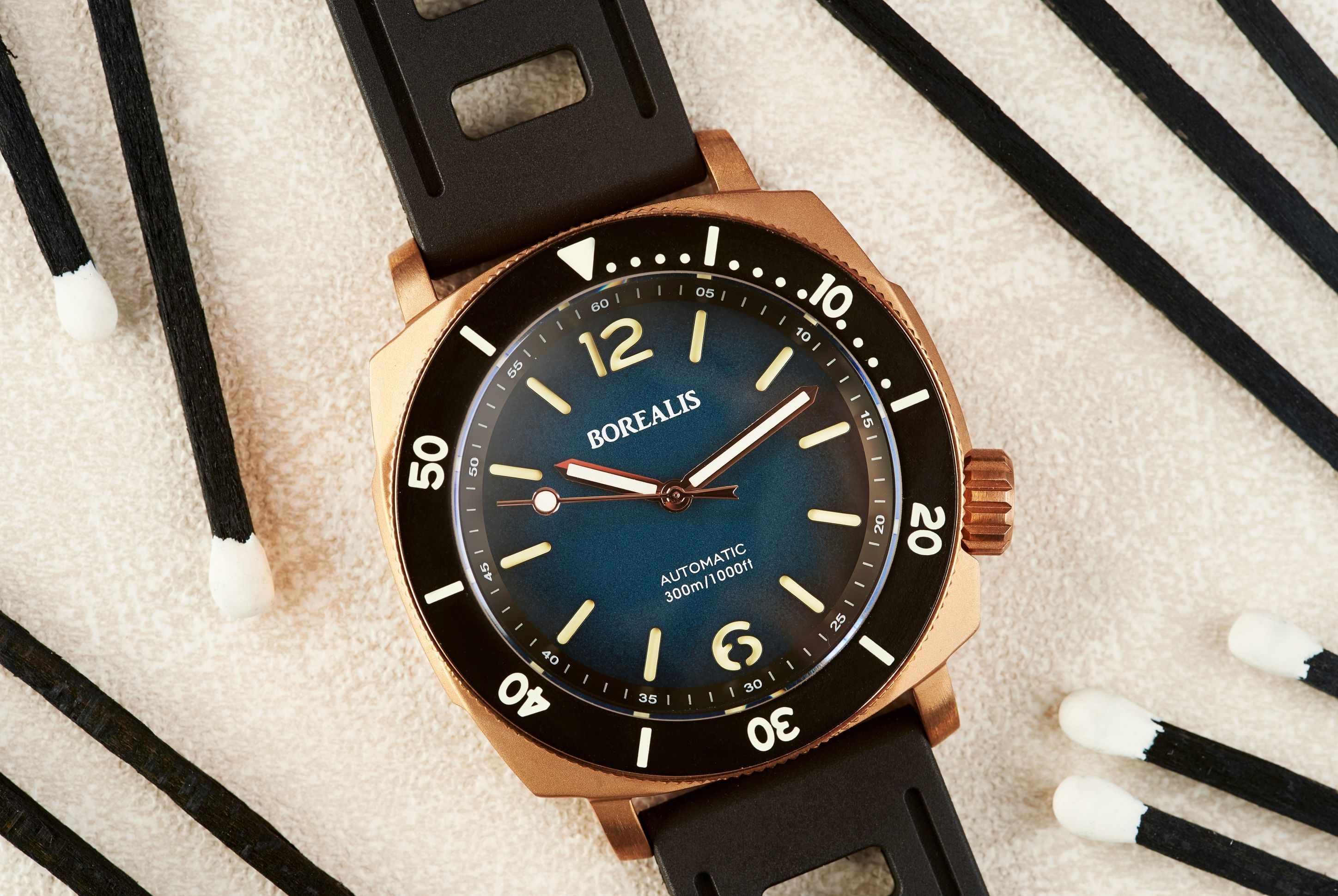 Borealis Navale CuSn8 Bronze 300m Diver Watch Miyota 9015 Blue Fumed Dial Version CR Rotating Bezel