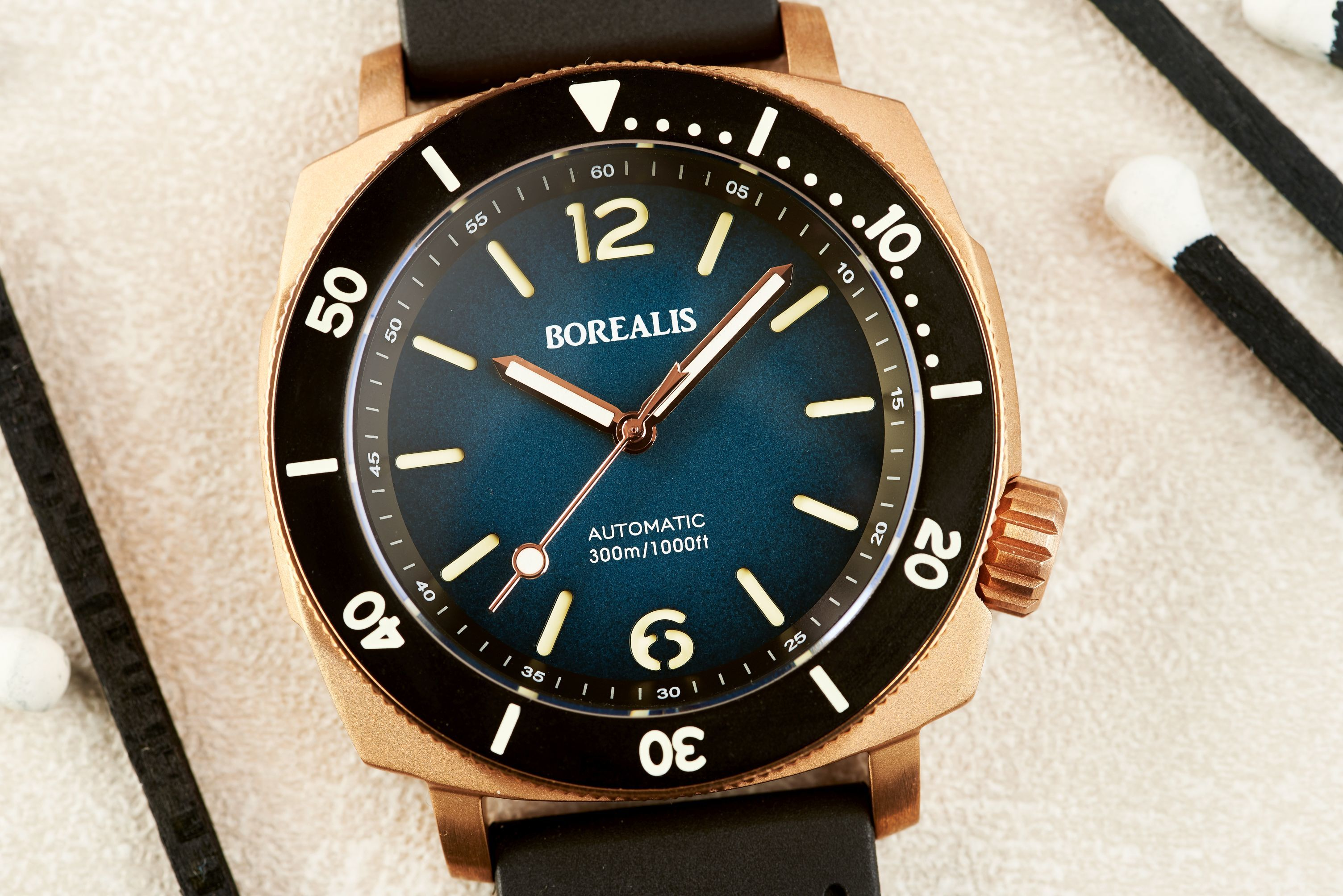 Borealis Navale CuSn8 Bronze 300m Diver Watch Miyota 9015 Blue Fumed Dial Version CR Rotating Bezel BNAVALECRBLUE