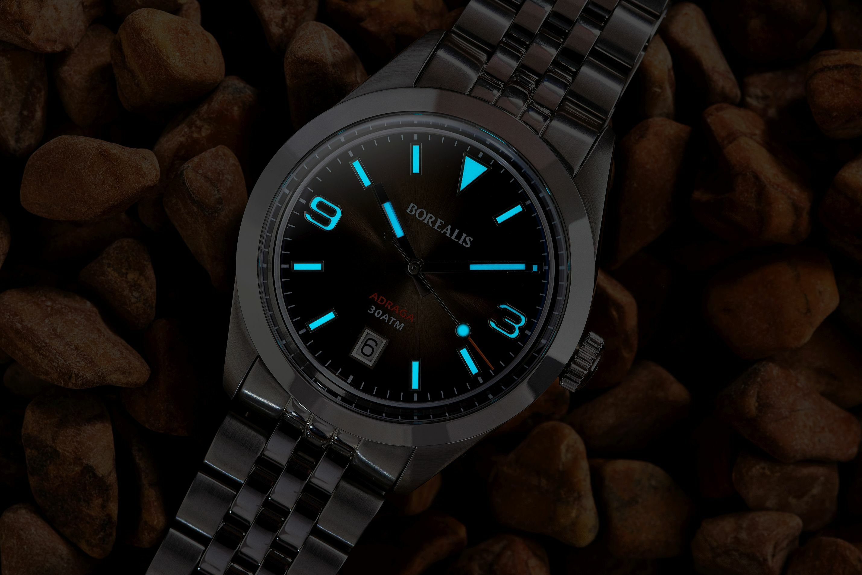 Borealis Adraga Stainless Steel Miyota 9015 fumed brown dial Commando Hands Date BGW9 Lume
