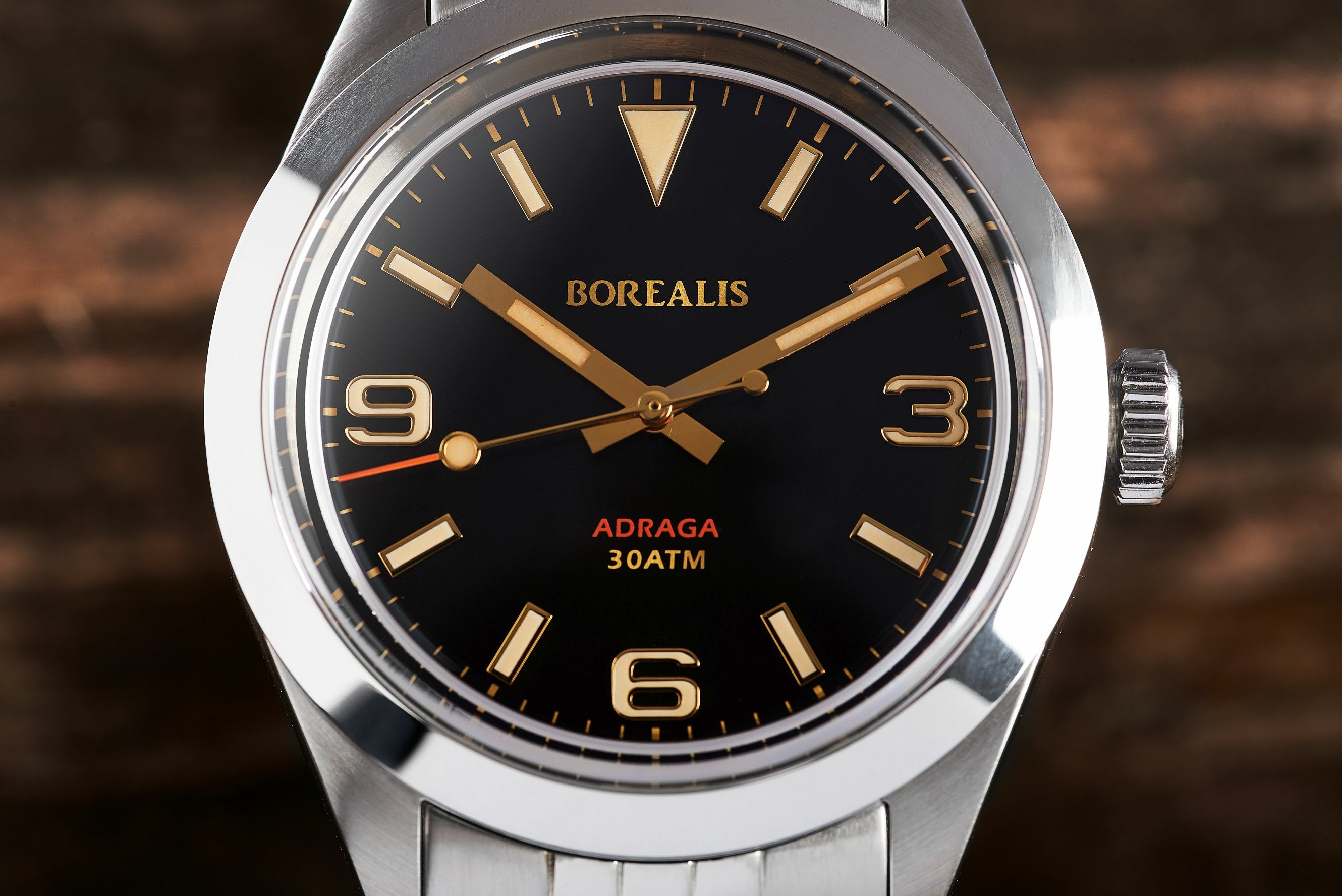 Borealis Adraga Stainless Steel Miyota 9015 black dial Commando Hands No Date Old Radium X1 Lume ADRAGA2AB