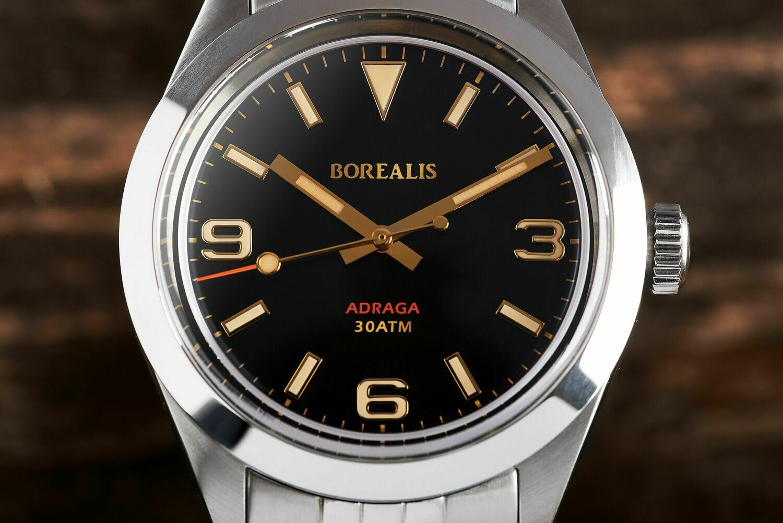 Borealis Adraga Stainless Steel Miyota 90S5 black dial Commando Hands No Date Old Radium X1 Lume