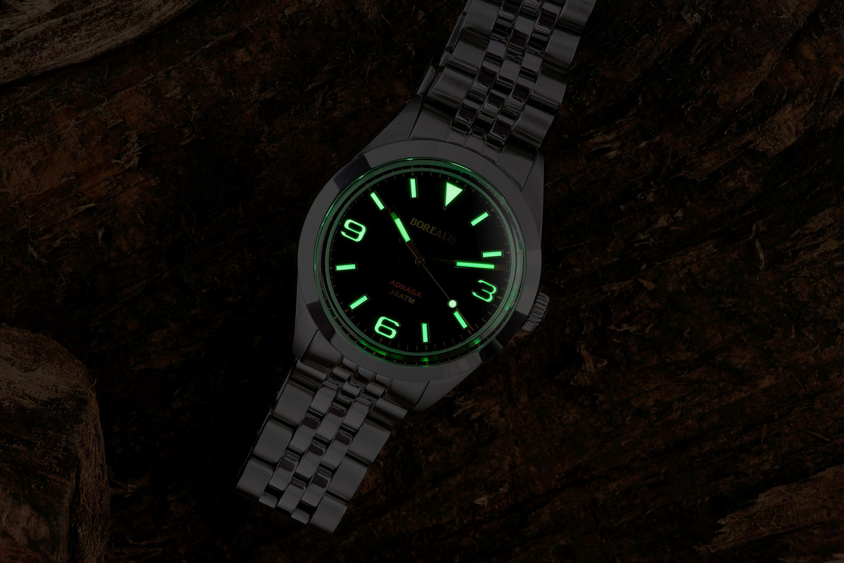 Borealis Adraga Stainless Steel Miyota 9015 black dial Commando Hands No Date Old Radium X1 Lume