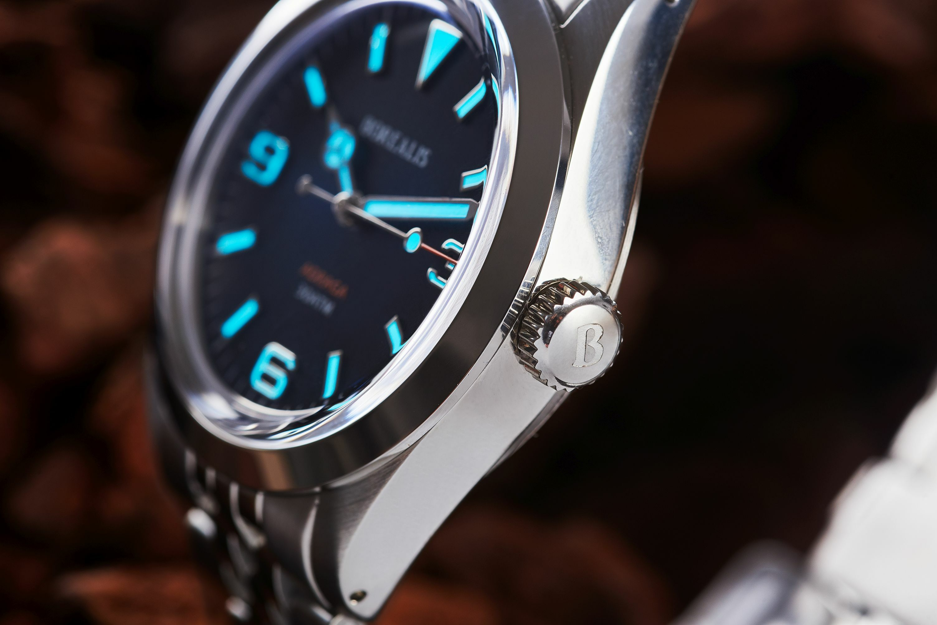 Borealis Adraga Stainless Steel Miyota 9015 fumed blue dial Mercedes Hands No Date BGW9 lume