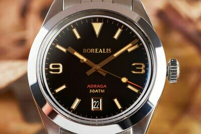 Borealis Adraga Stainless Steel Miyota 9015 black dial Commando Hands Date Old Radium Lume
