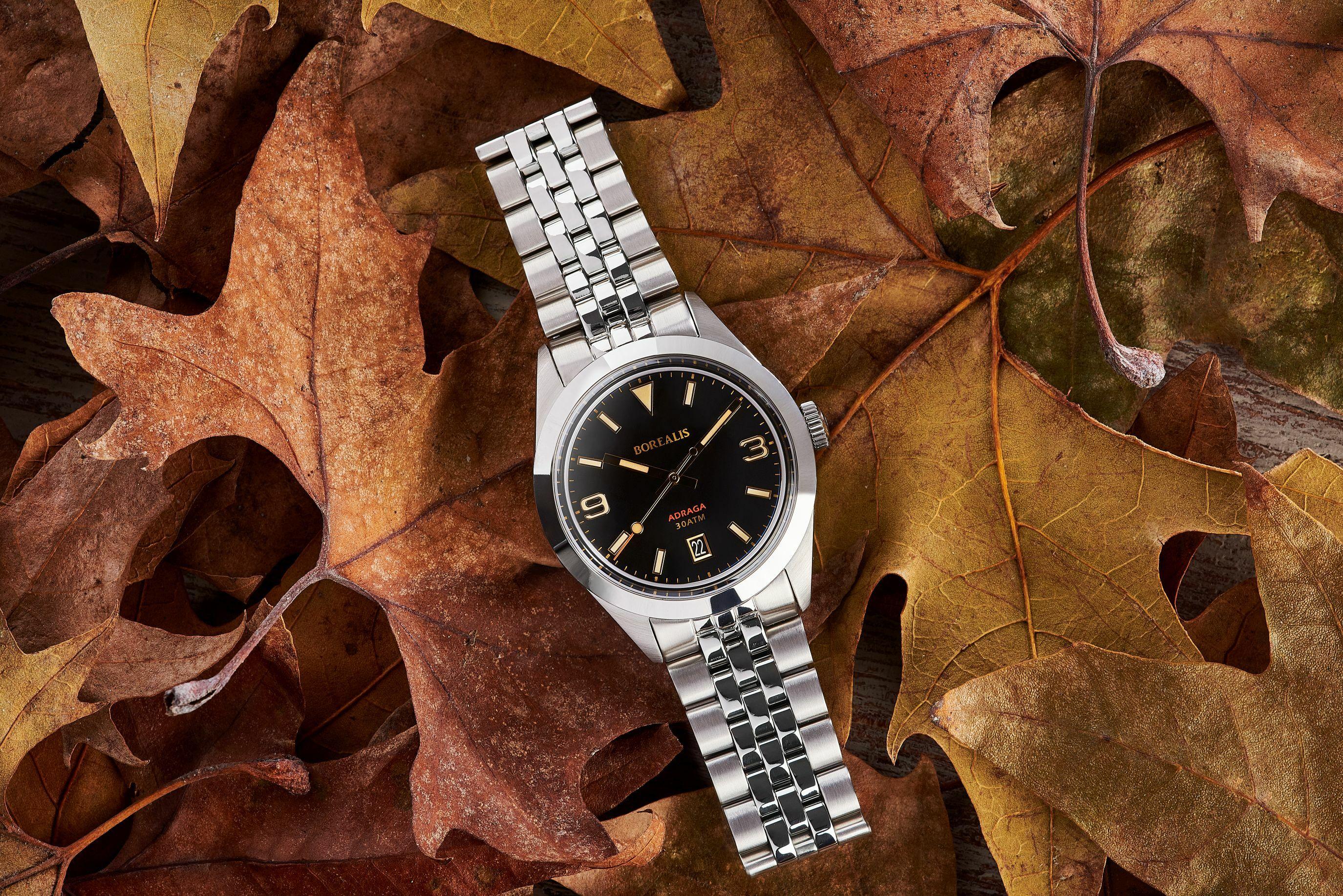 Borealis Adraga Stainless Steel Miyota 9015 black dial Commando Hands Date Old Radium Lume