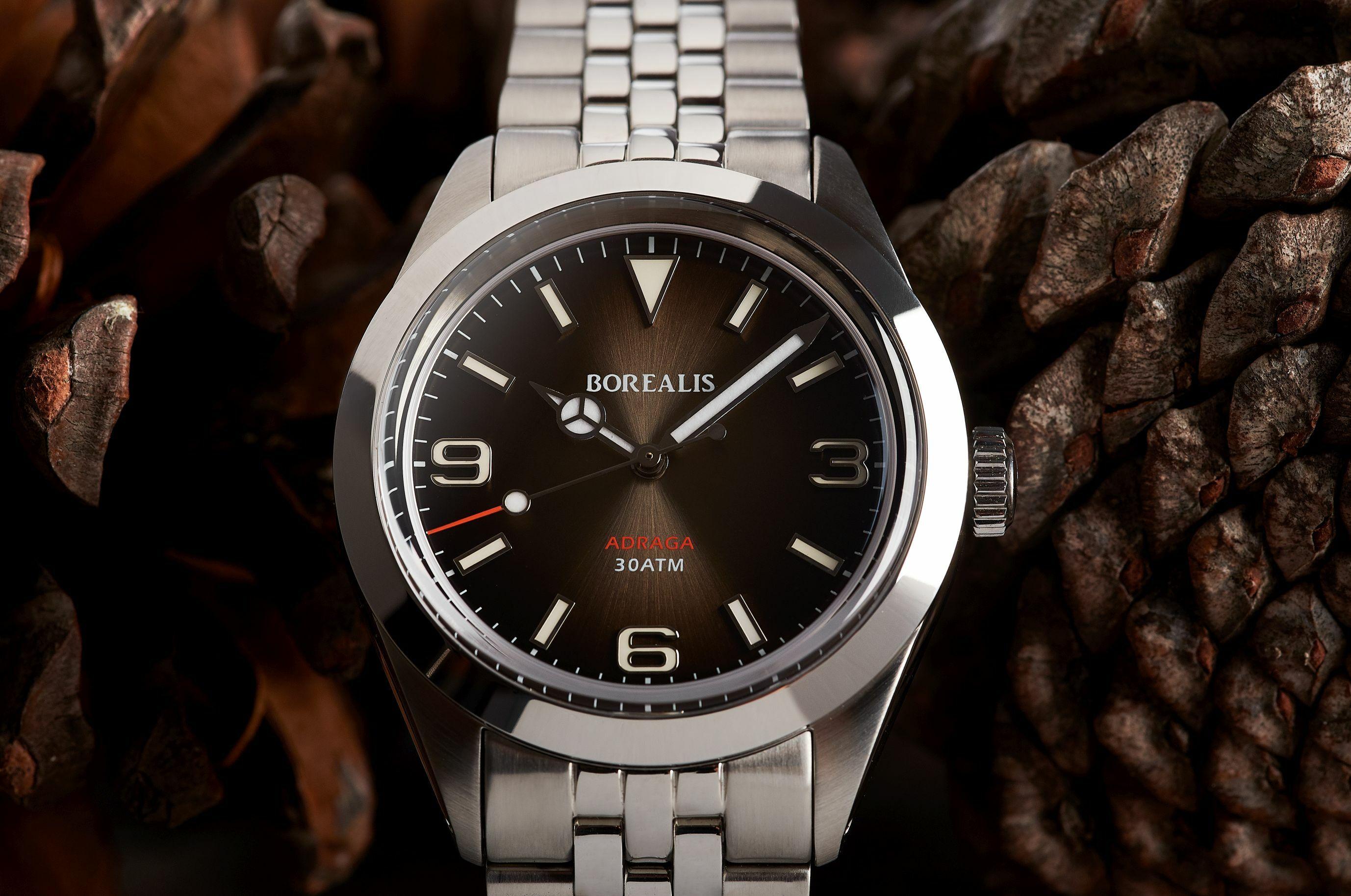 Borealis Adraga Stainless Steel Miyota 9015 fumed brown dial Mercedes Hands No Date BGW9 lume ADRAGA2BC