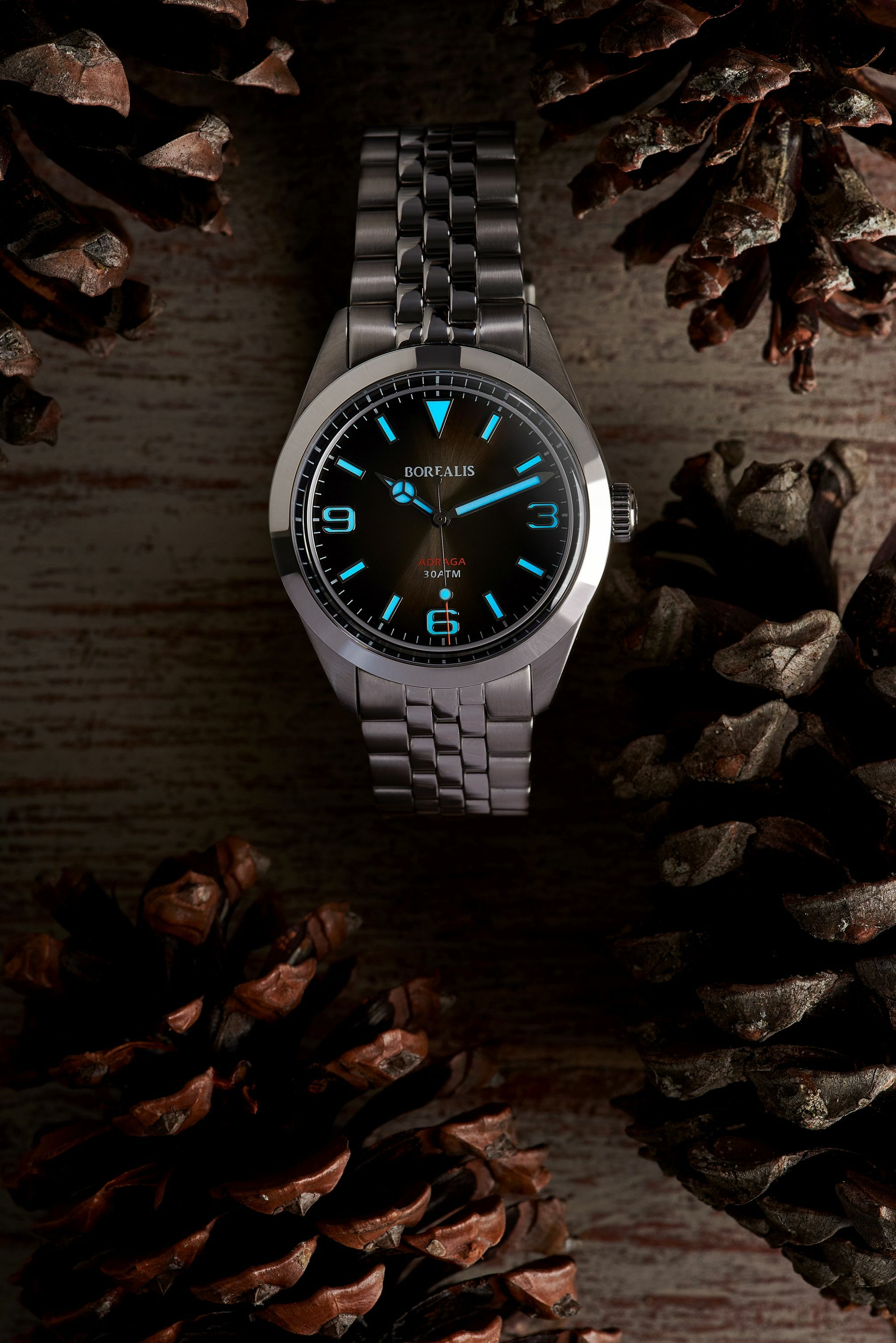 Borealis Adraga Stainless Steel Miyota 90S5 fumed brown dial Mercedes Hands No Date BGW9 lume