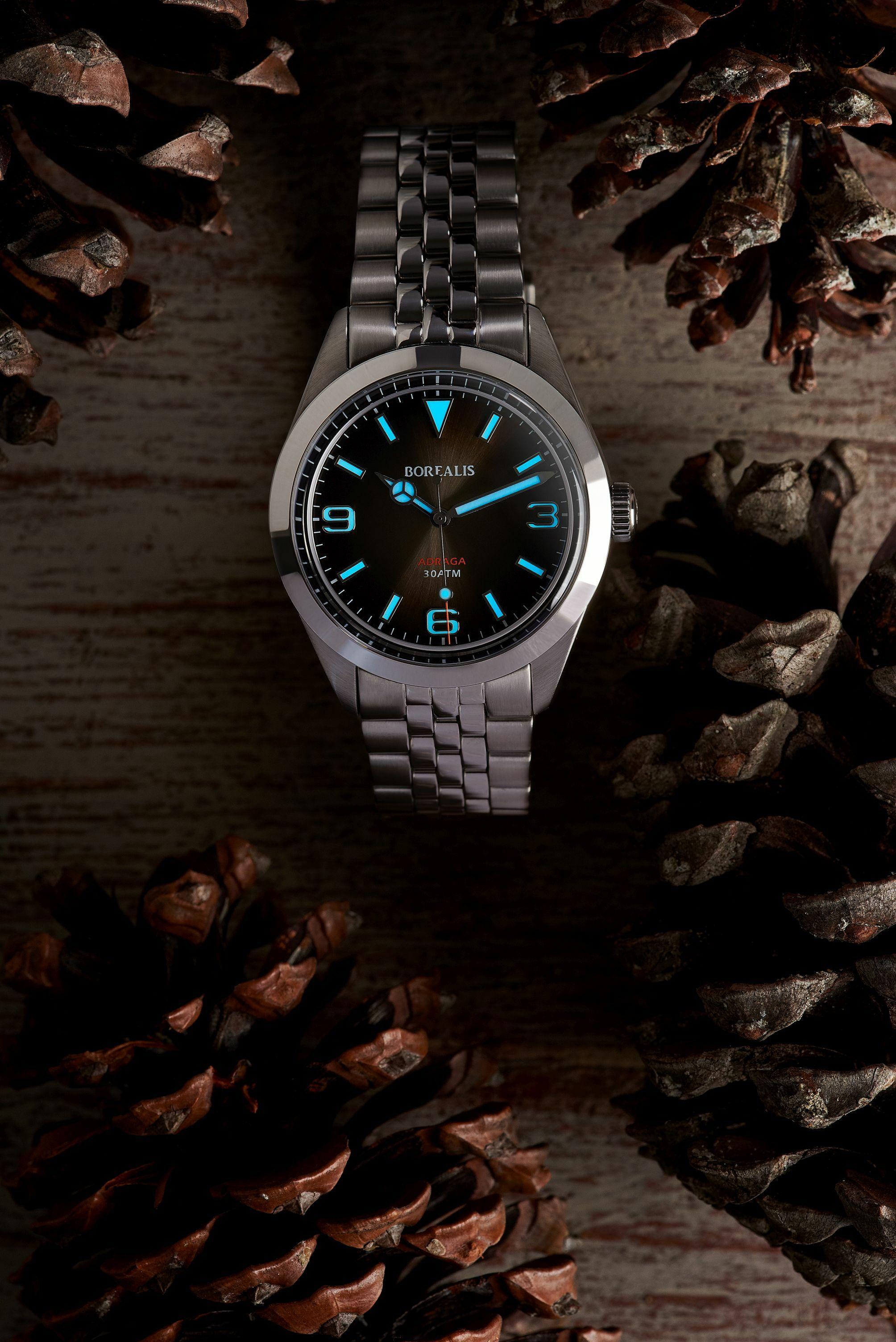 Borealis Adraga Stainless Steel Miyota 9015 fumed brown dial Mercedes Hands No Date BGW9 lume