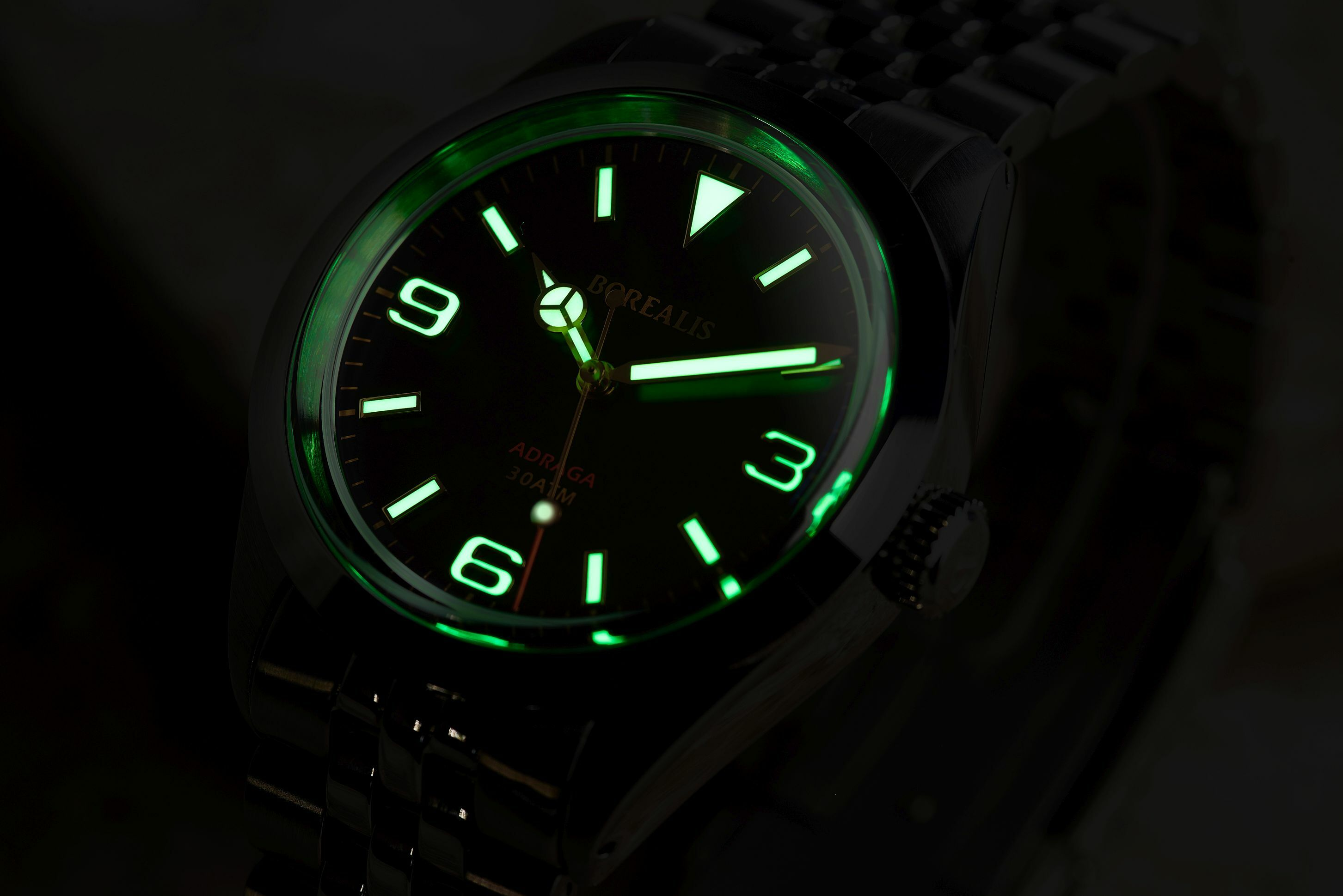 Borealis Adraga Stainless Steel Miyota 90S5 black dial Mercedes Hands No Date Old Radium X1 lume