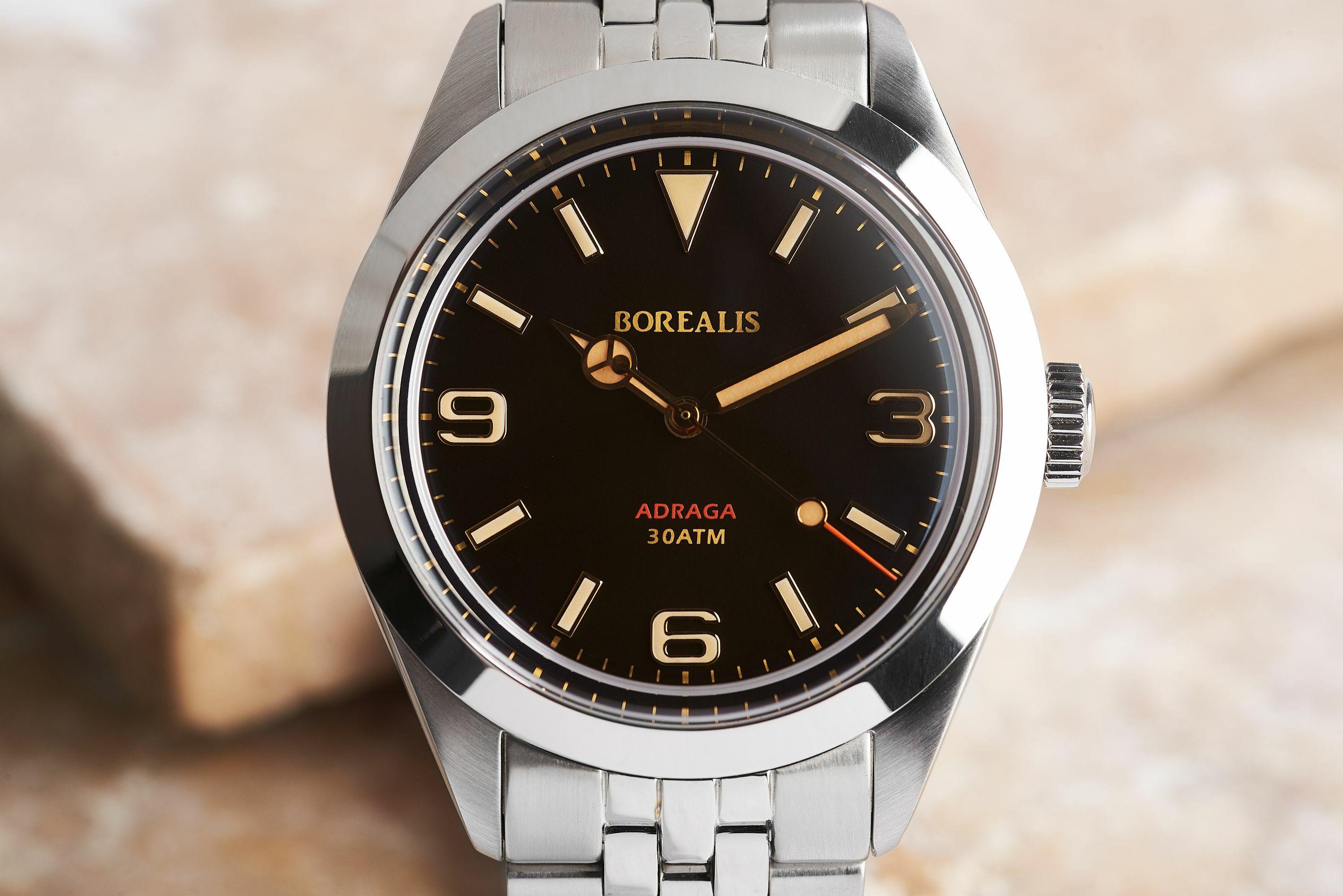Borealis Adraga Stainless Steel Miyota 9015 black dial Mercedes Hands No Date Old Radium X1 lume ADRAGA2BB