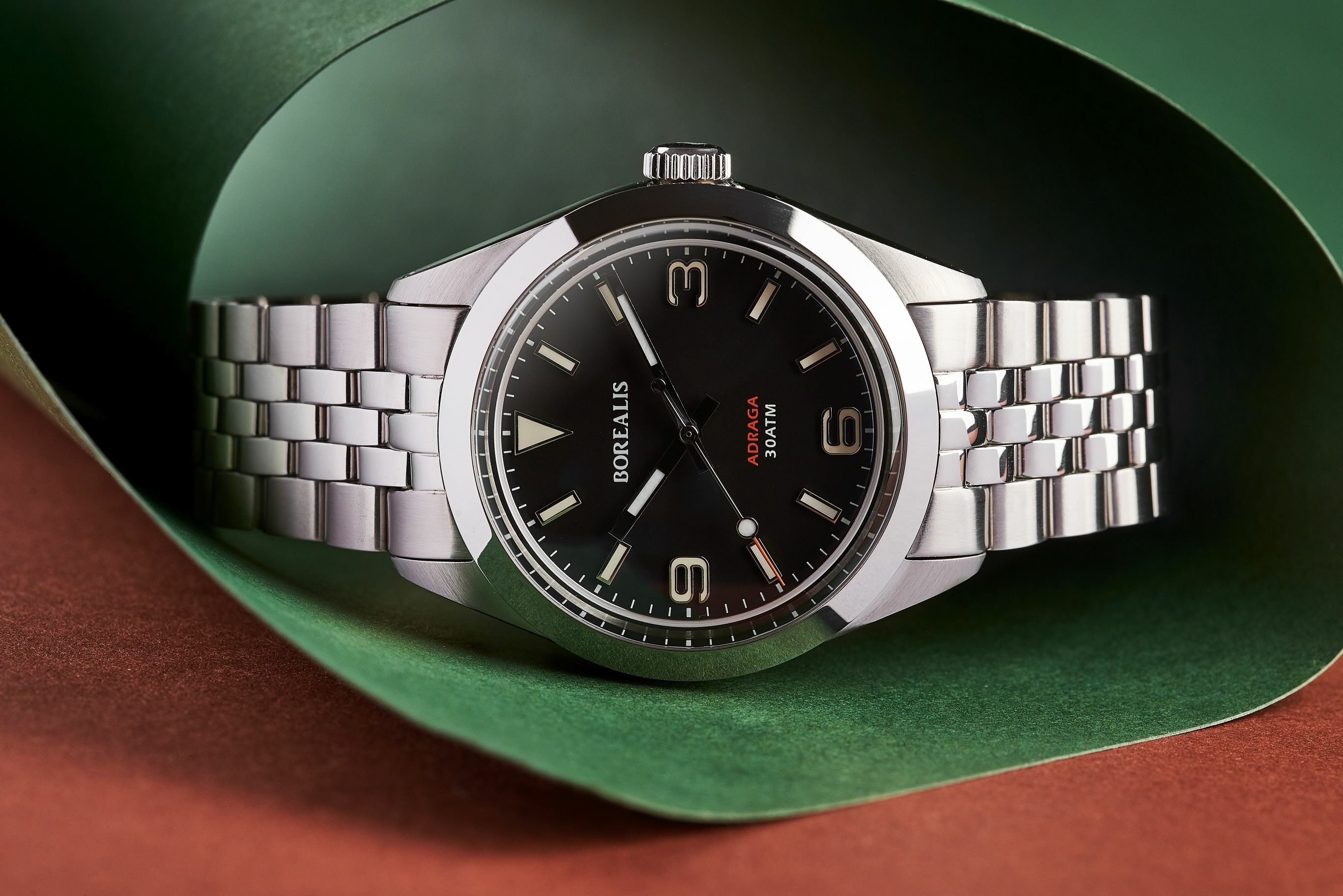 Borealis Adraga Stainless Steel Miyota 90S5 black dial Commando Hands no Date BGW9 Lume