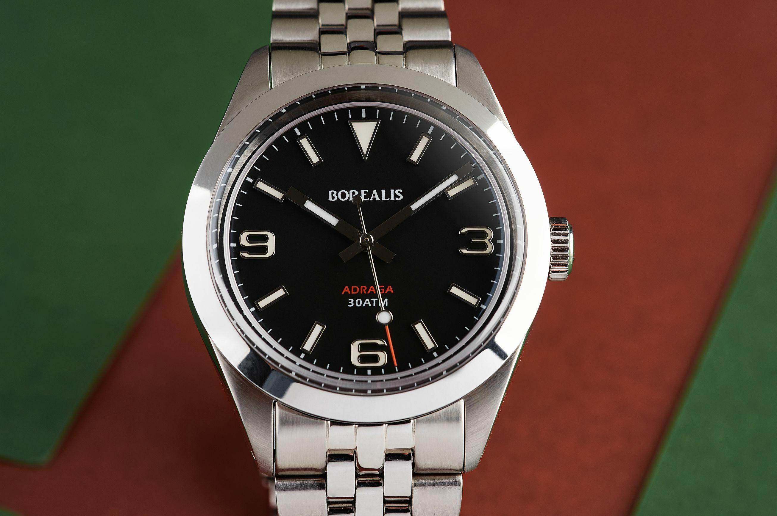 Borealis Adraga Stainless Steel Miyota 90S5 black dial Commando Hands no Date BGW9 Lume ADRAGA2AA
