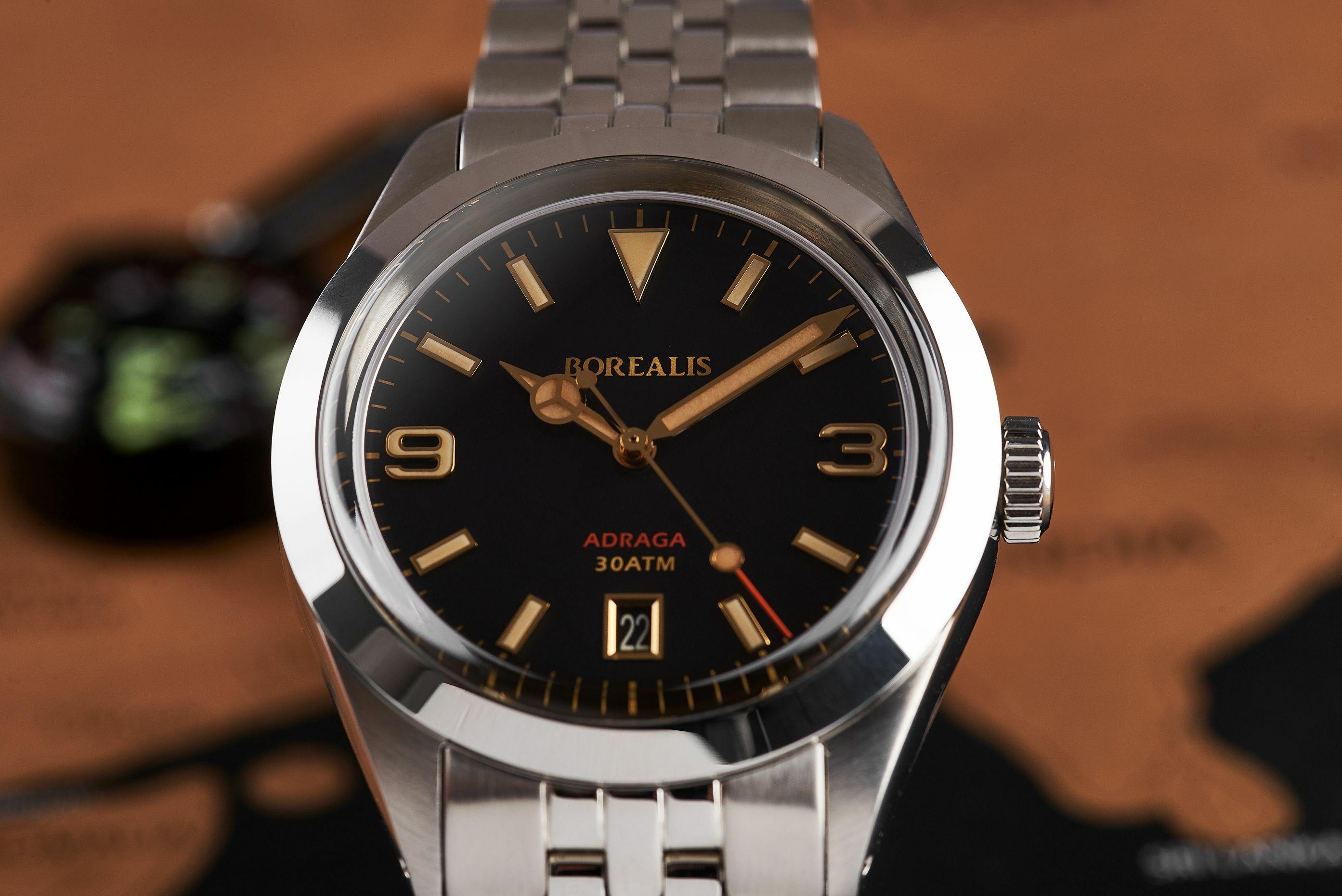 Borealis Adraga Stainless Steel Miyota 9015 fumed brown dial Mercedes Hands Date Old Radium X1 lume ADRAGA2BB1