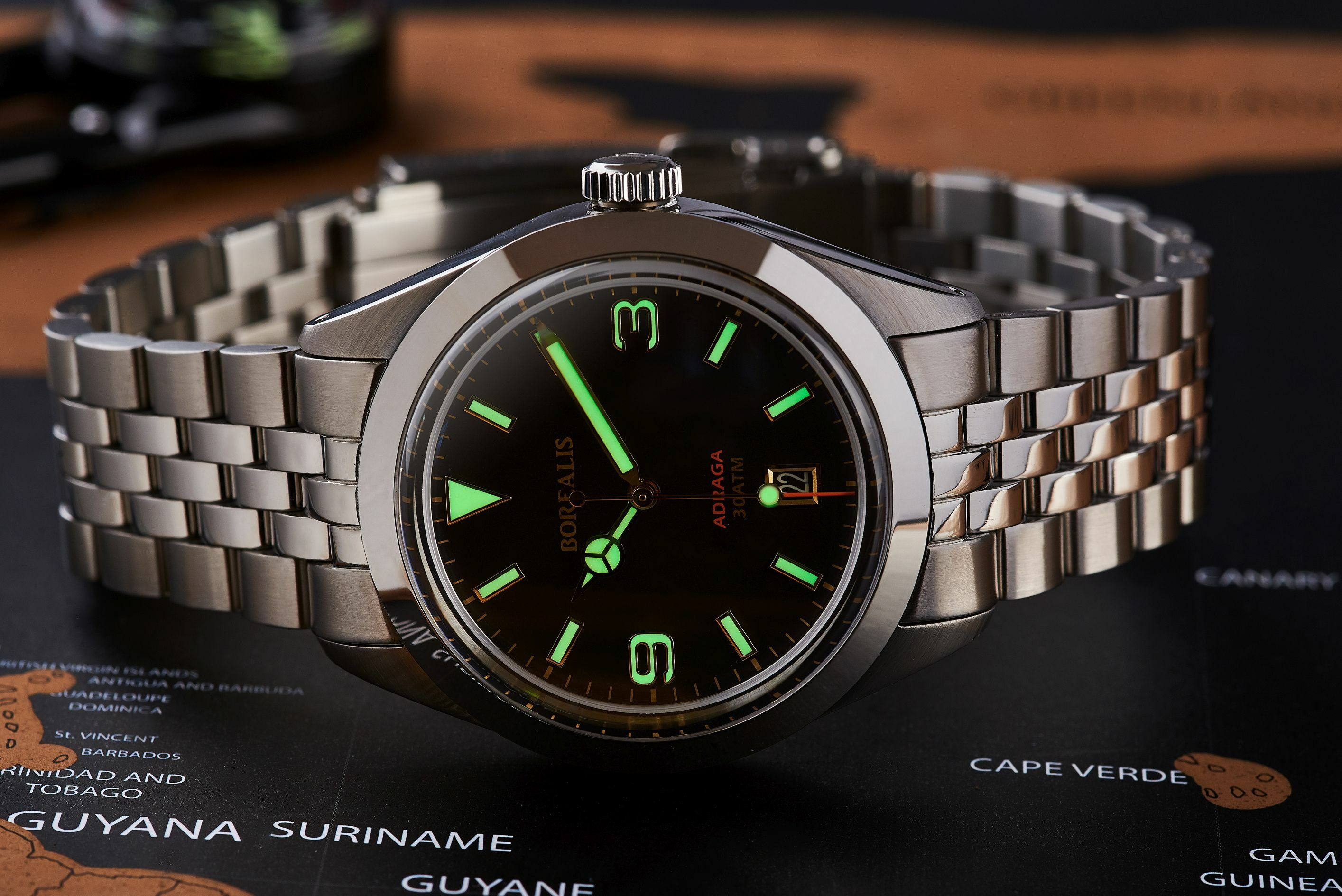 Borealis Adraga Stainless Steel Miyota 9015 fumed brown dial Mercedes Hands Date Old Radium X1 lume