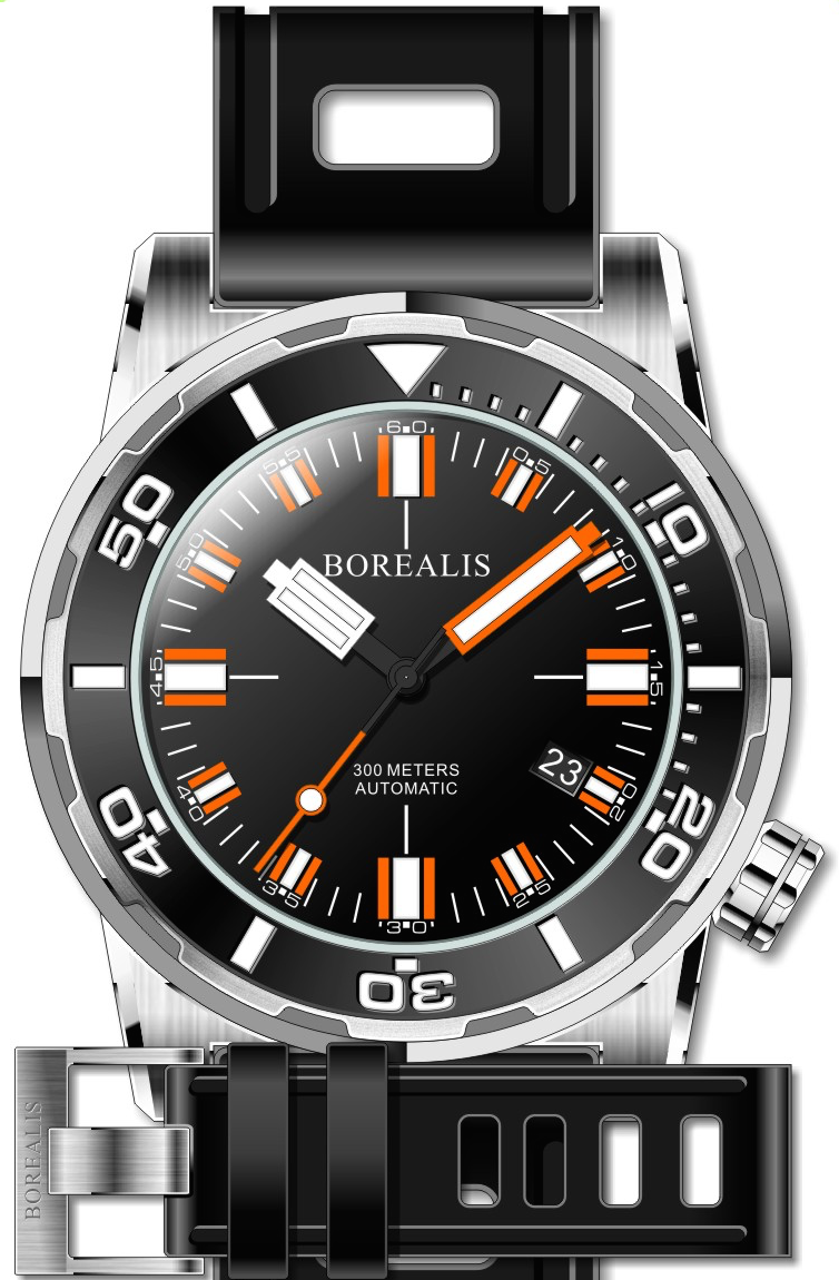 Borealis Sea Dragon Black Dial Miyota 9015 Diver Watch