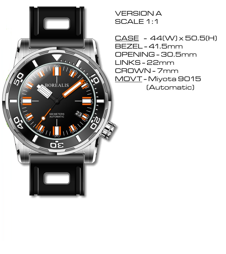 Borealis Sea Dragon Miyota 9015 Diver Watch