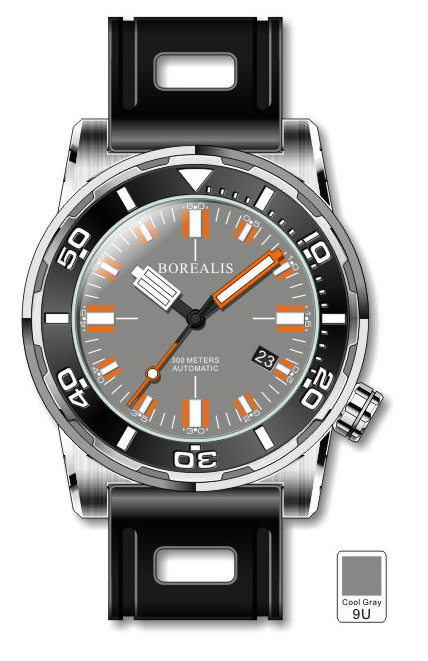Borealis Sea Dragon Gray Dial Miyota 9015 Automatic Diver Watch 300m BSDGD