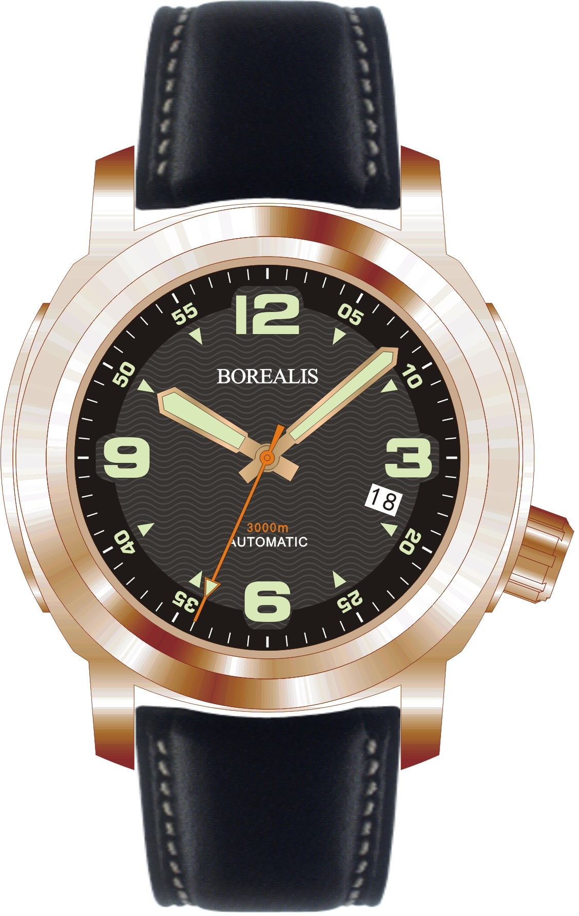 Borealis Batial Bronze CuSn8 Black 3000m Miyota 9015 Automatic Diver Watch With Date Display BBCUSN8BLACKDATE