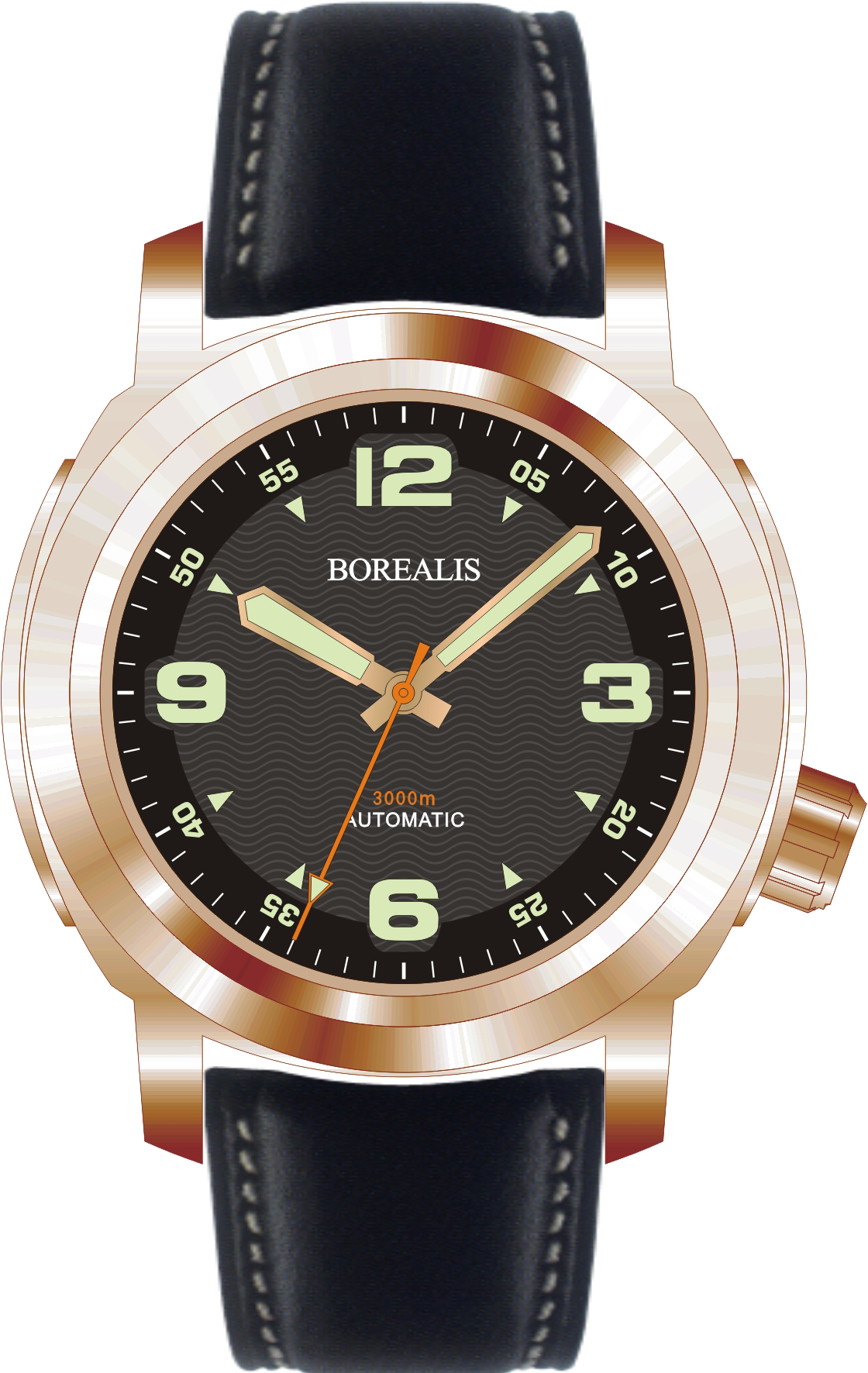 Borealis Batial Bronze CuSn8 Black 3000m Miyota 9015 Automatic Diver Watch No Date Display