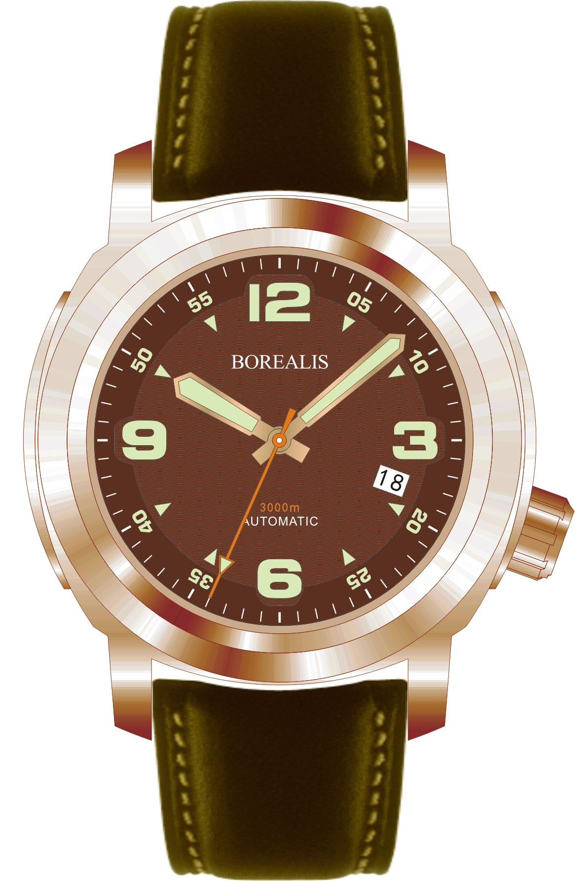Borealis Batial Bronze CuSn8 Brown 3000m Miyota 9015 Automatic Diver Watch With Date Display BBCUSN8BROWNDATE