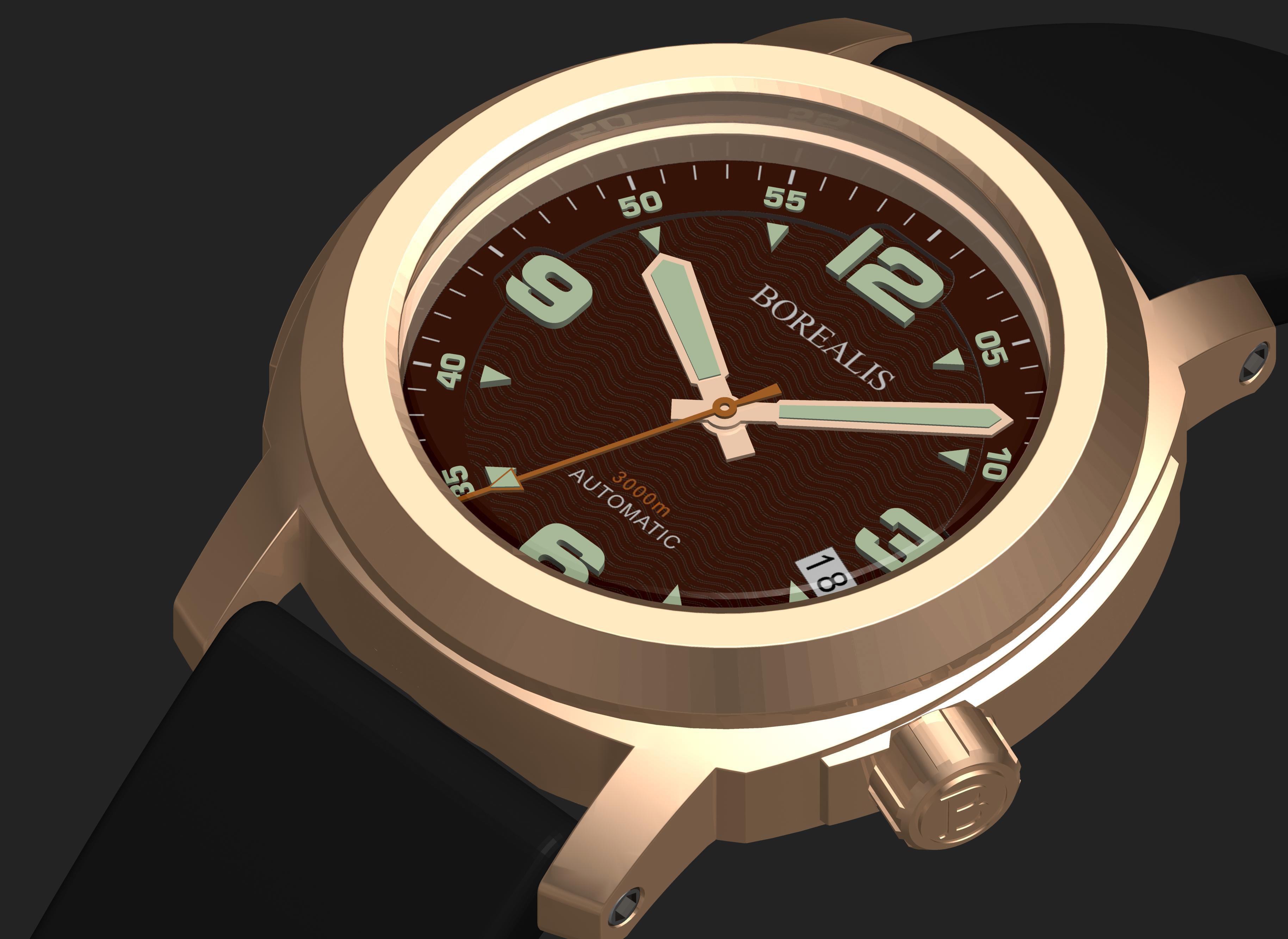 Borealis Batial Bronze CuSn8 Brown 3000m Miyota 9015 Automatic Diver Watch No Date Display
