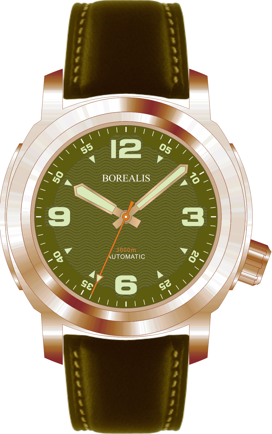 Borealis Batial Bronze CuSn8 Green 3000m Miyota 9015 Automatic Diver Watch No Date Display BBCUSN8GREENNODATE