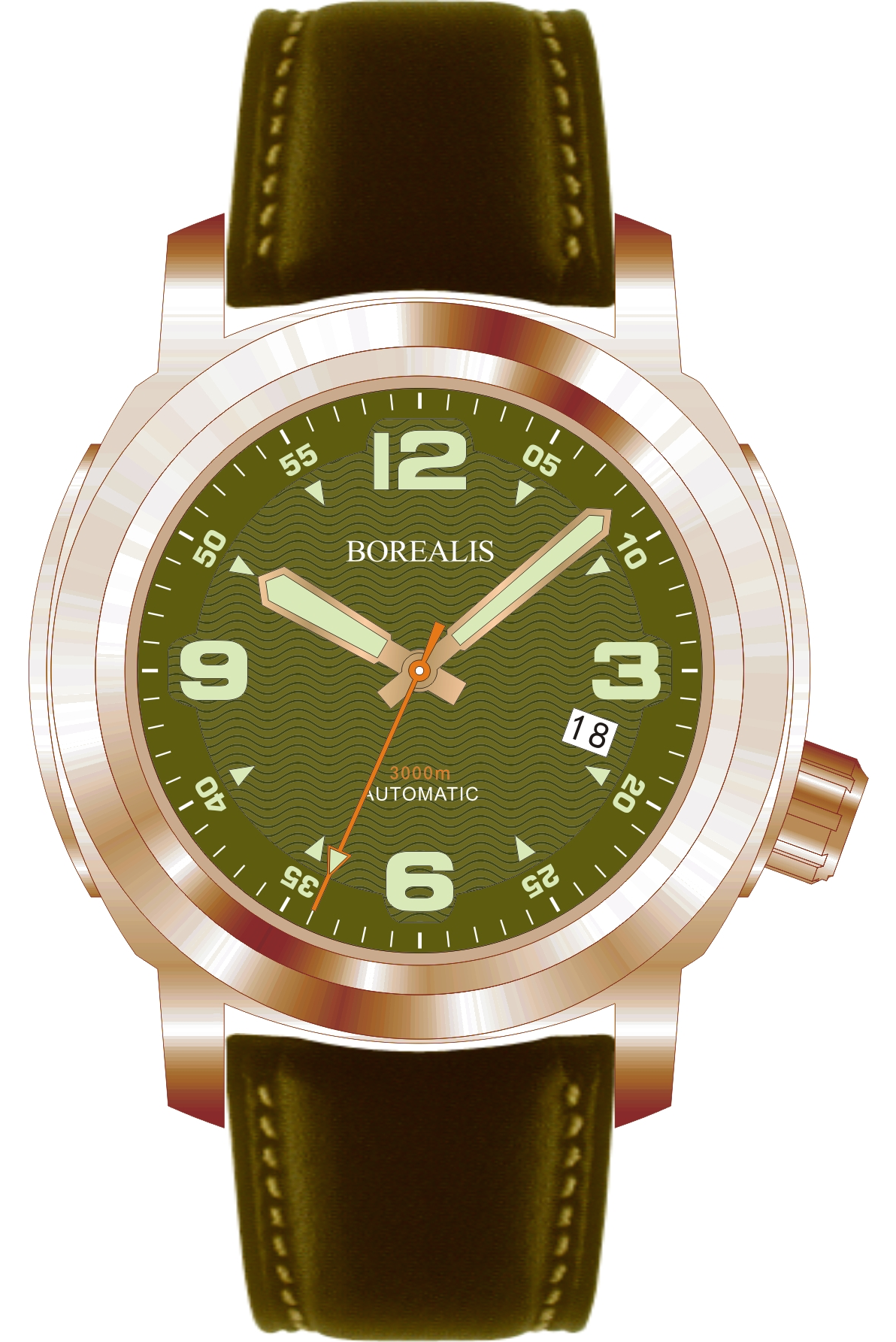 Borealis Batial Bronze CuSn8 Green 3000m Miyota 9015 Automatic Diver Watch With Date Display BBCUSN8GREENDATE