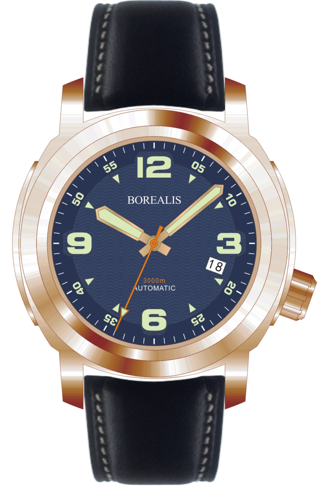 Borealis Batial Bronze CuSn8 Blue 3000m Miyota 9015 Automatic Diver Watch With Date Display BBCUSN8BLUEDATE