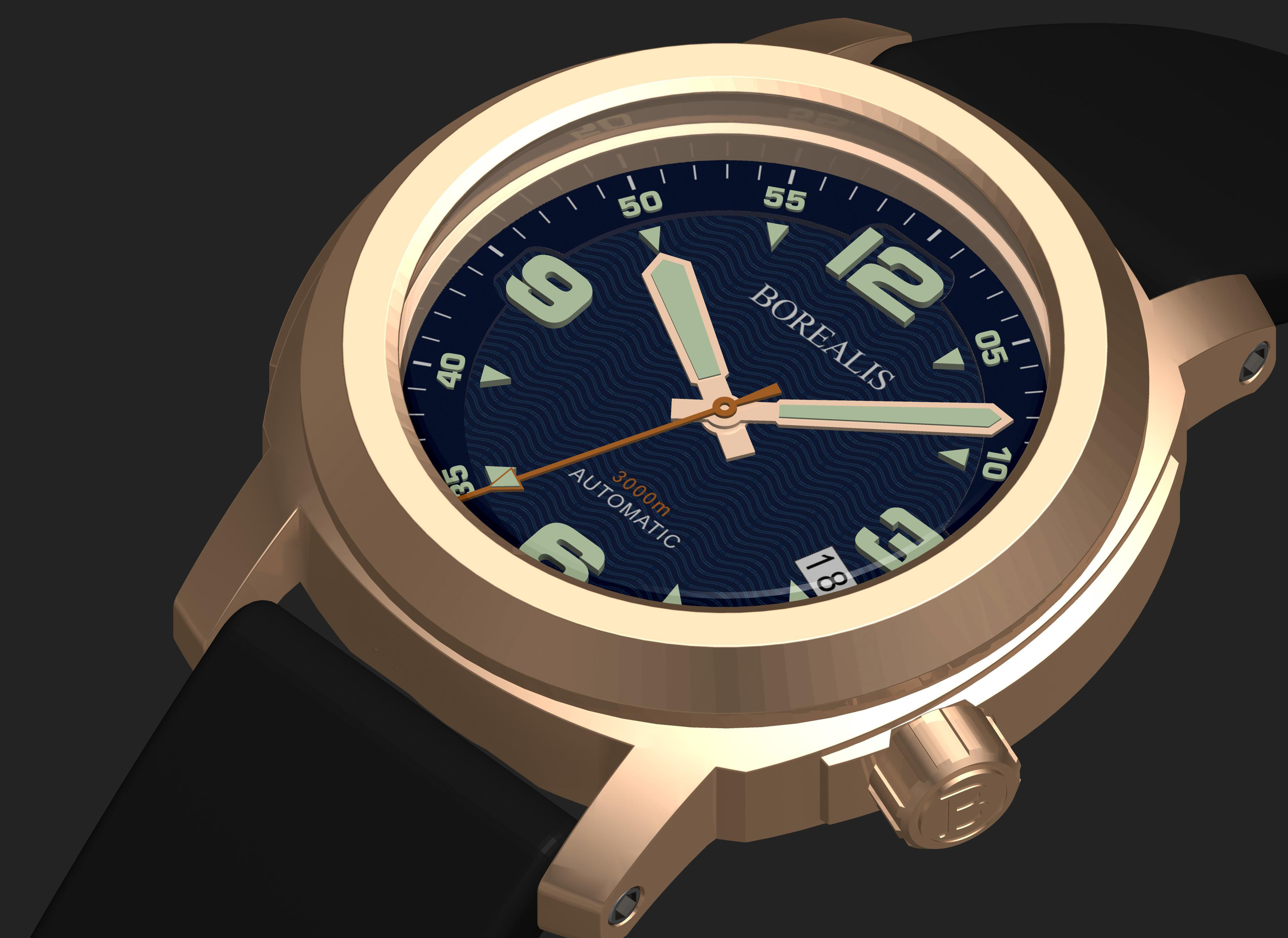 Borealis Batial Bronze CuSn8 Blue 3000m Miyota 9015 Automatic Diver Watch With Date Display