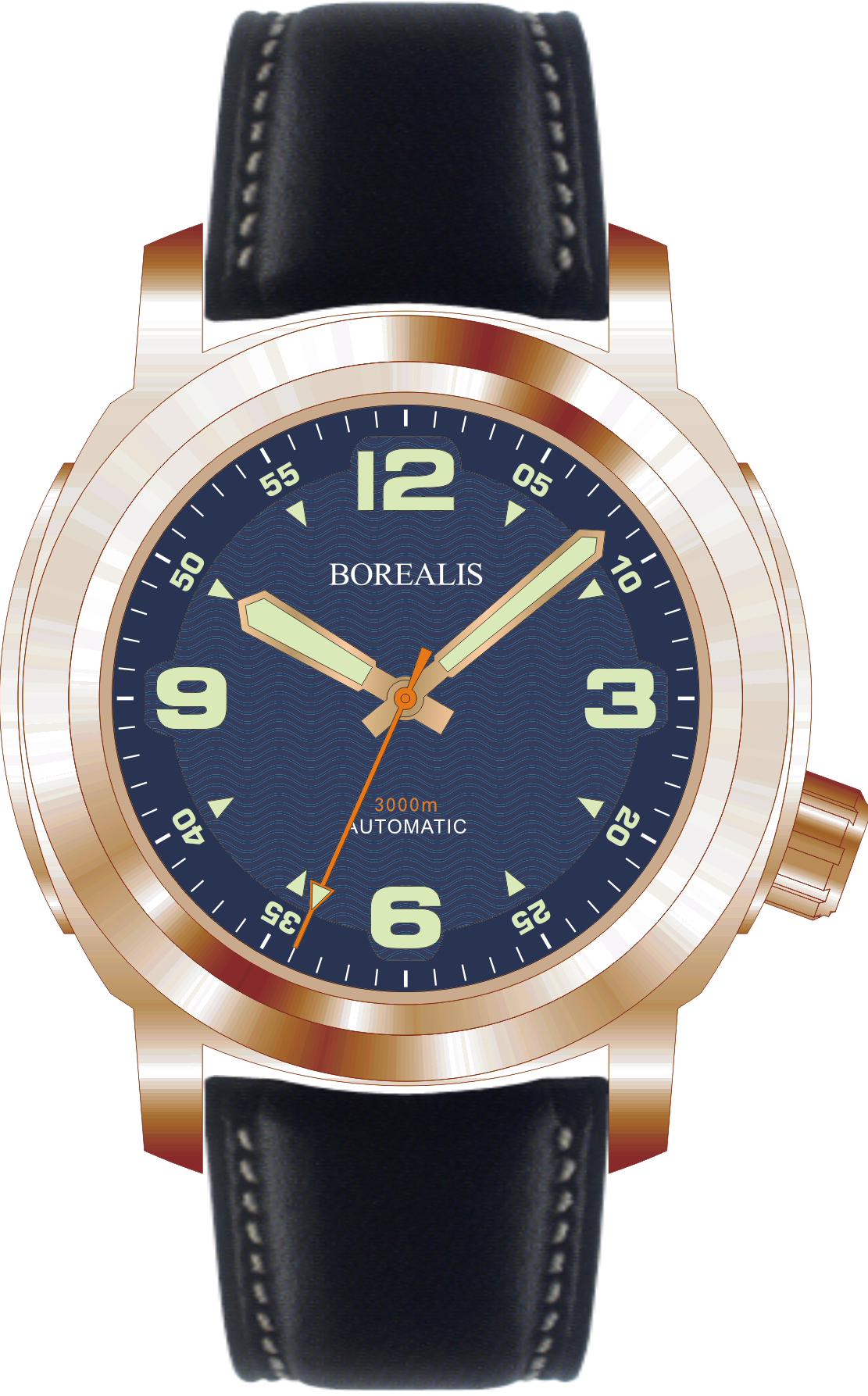 Borealis Batial Bronze CuSn8 Blue 3000m Miyota 9015 Automatic Diver Watch No Date Display