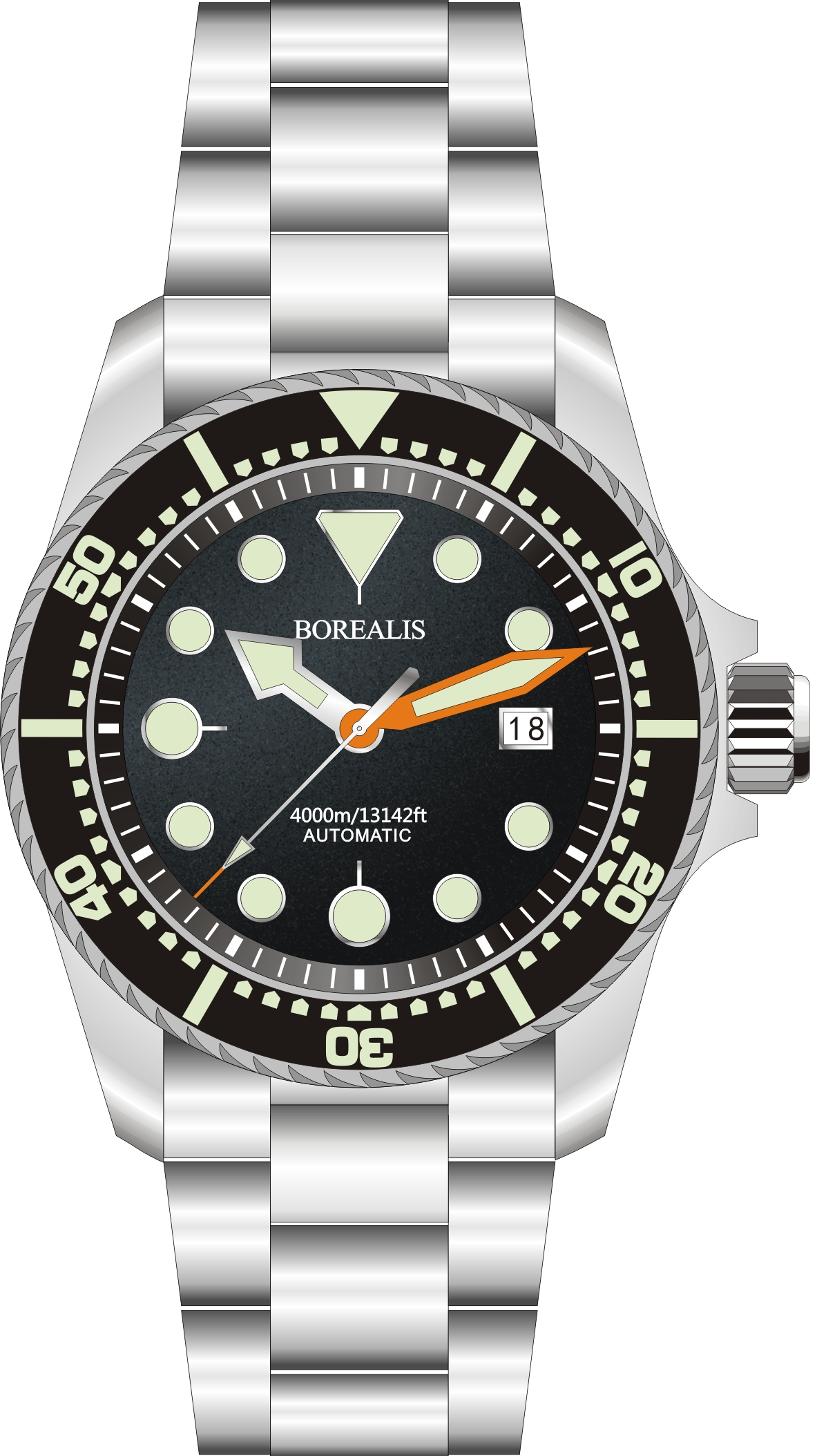 Borealis Seafarer II Stainless Steel Black C3 Sapphire Turbine Style Grip Bezel 4000m Miyota 9015 Automatic Diver Watch BSFIIBLACKC3